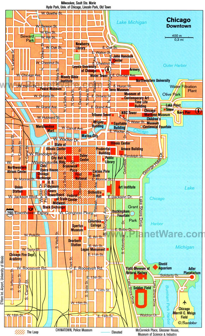 Chicago, Il - Map. Tagged Along On A Friends Business Trip Solo - Printable Map Of Downtown Chicago Attractions