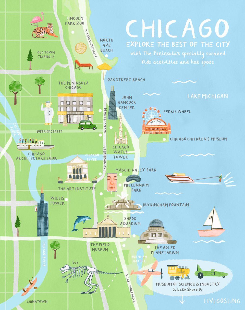 Chicago Illustration. Australian Traveller - Livi Gosling - Map Of Chicago Attractions Printable