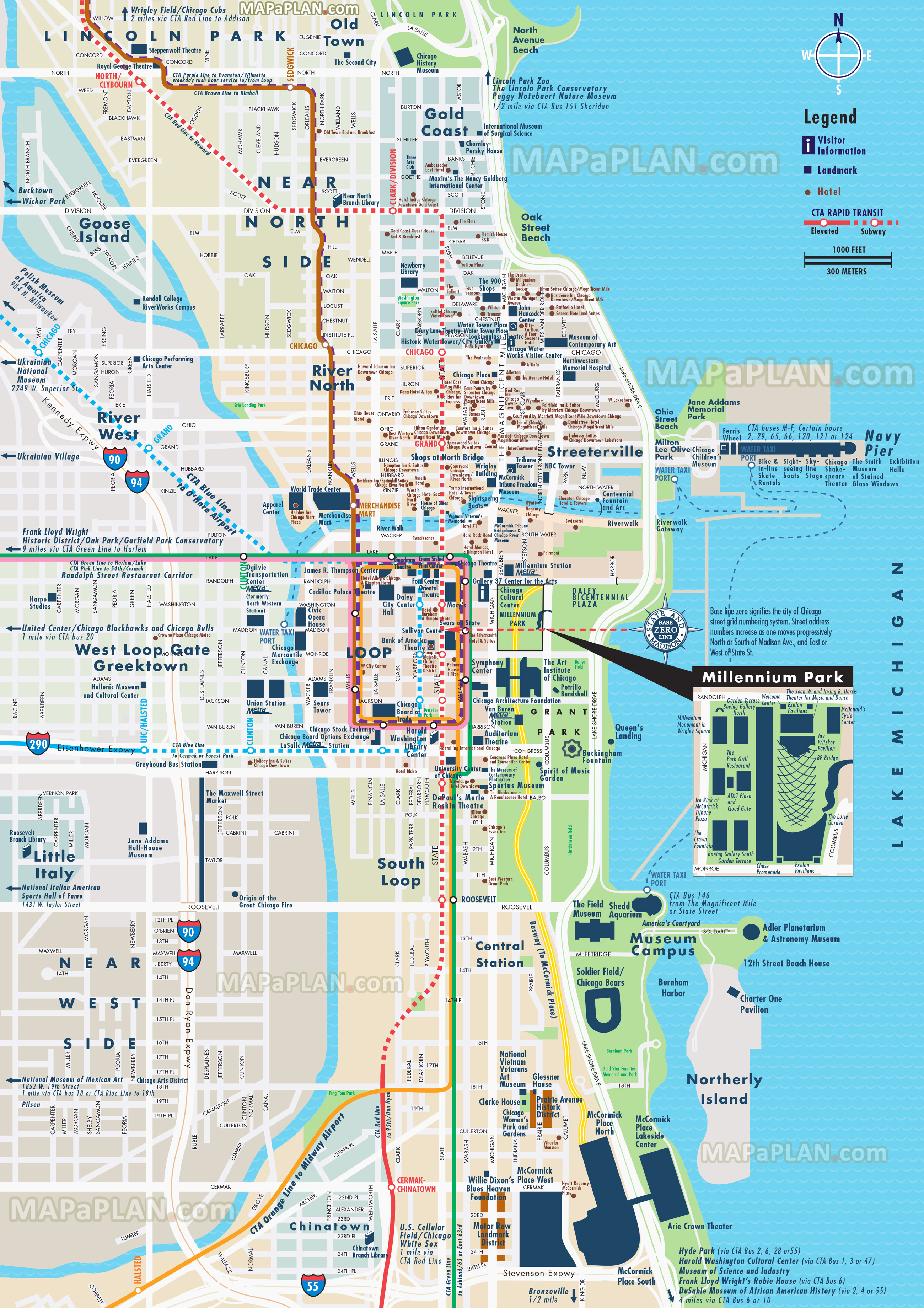 Chicago Map - Street & Road Names Plan With Central Most Popular - Map Of Chicago Attractions Printable