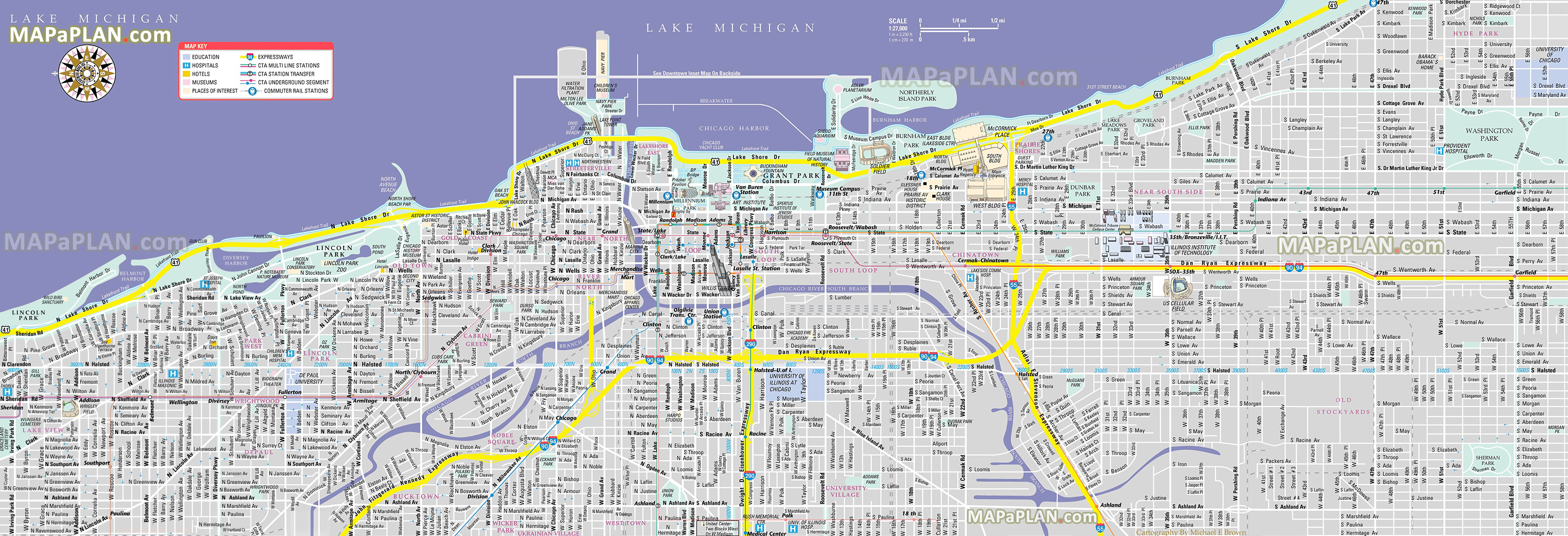 Chicago Maps - Top Tourist Attractions - Free, Printable City Street Map - Printable Street Maps Free