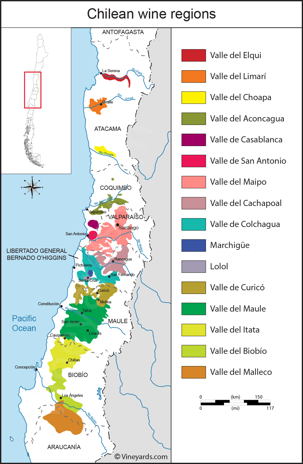 Chile Map Of Vineyards Wine Regions - Printable Map Of Chile
