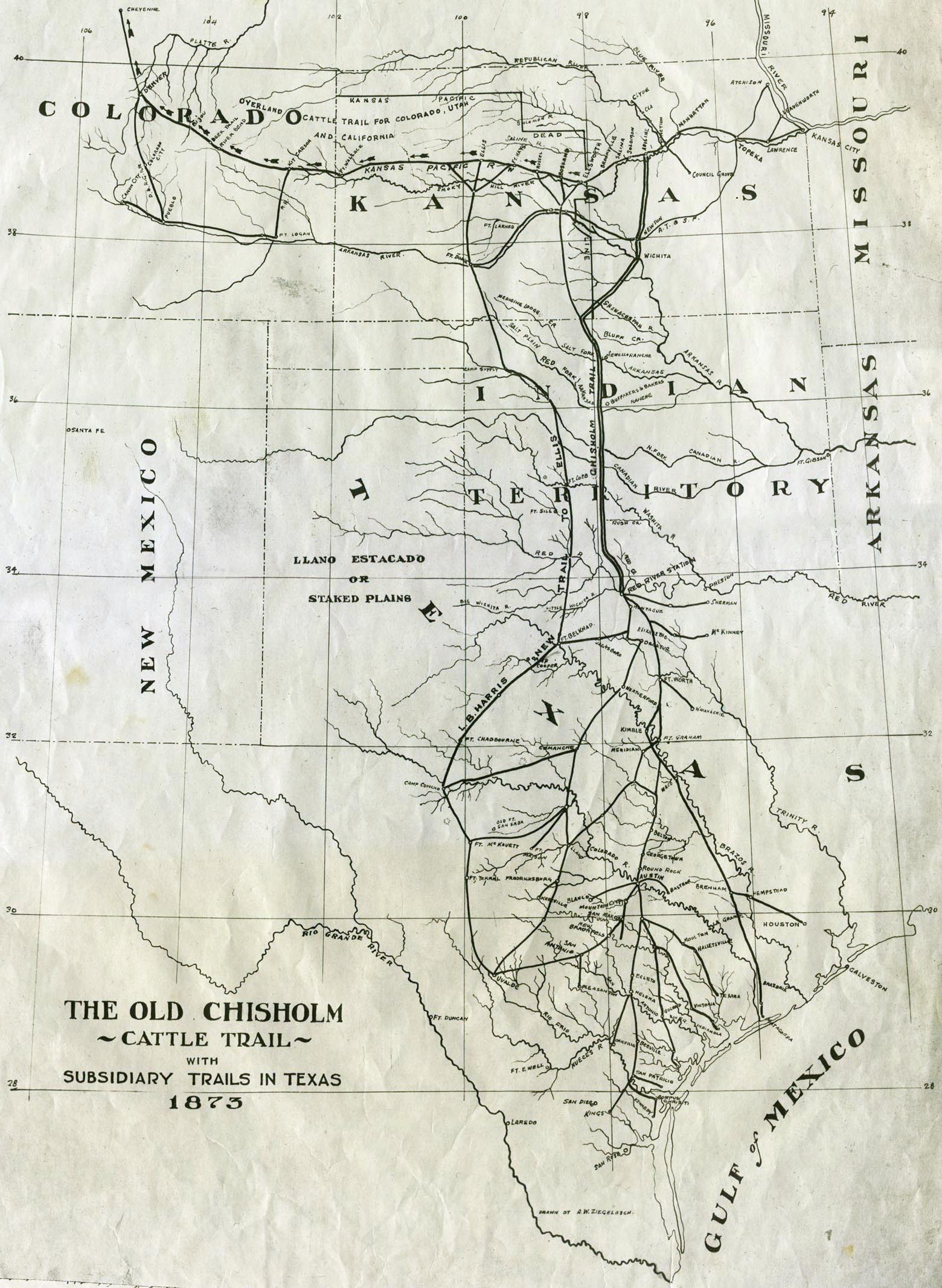 Chisholm Trail - Wikipedia - Adobe Walls Texas Map