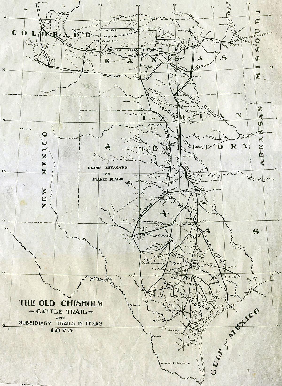 Chisholm Trail - Wikipedia - Texas Trails Maps