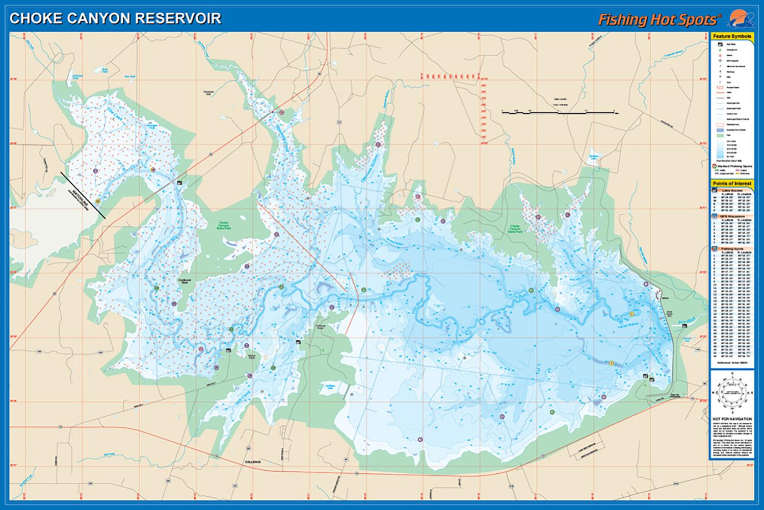 Choke Canyon Reservoir Fishing Map - Texas Lake Maps Fishing