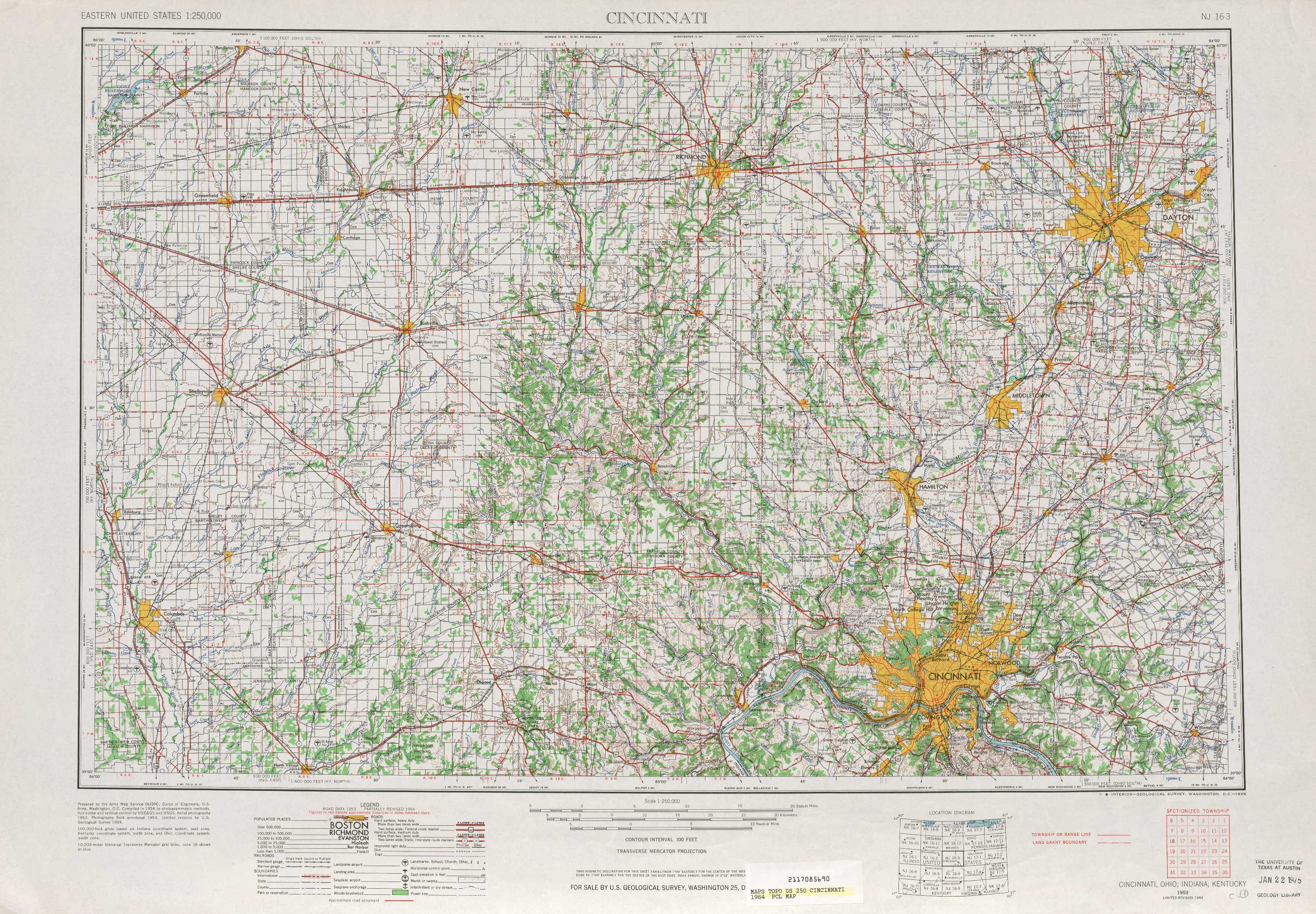 Cincinnati Topographic Maps, In, Oh, Ky - Usgs Topo Quad 39084A1 At - Usgs Printable Maps