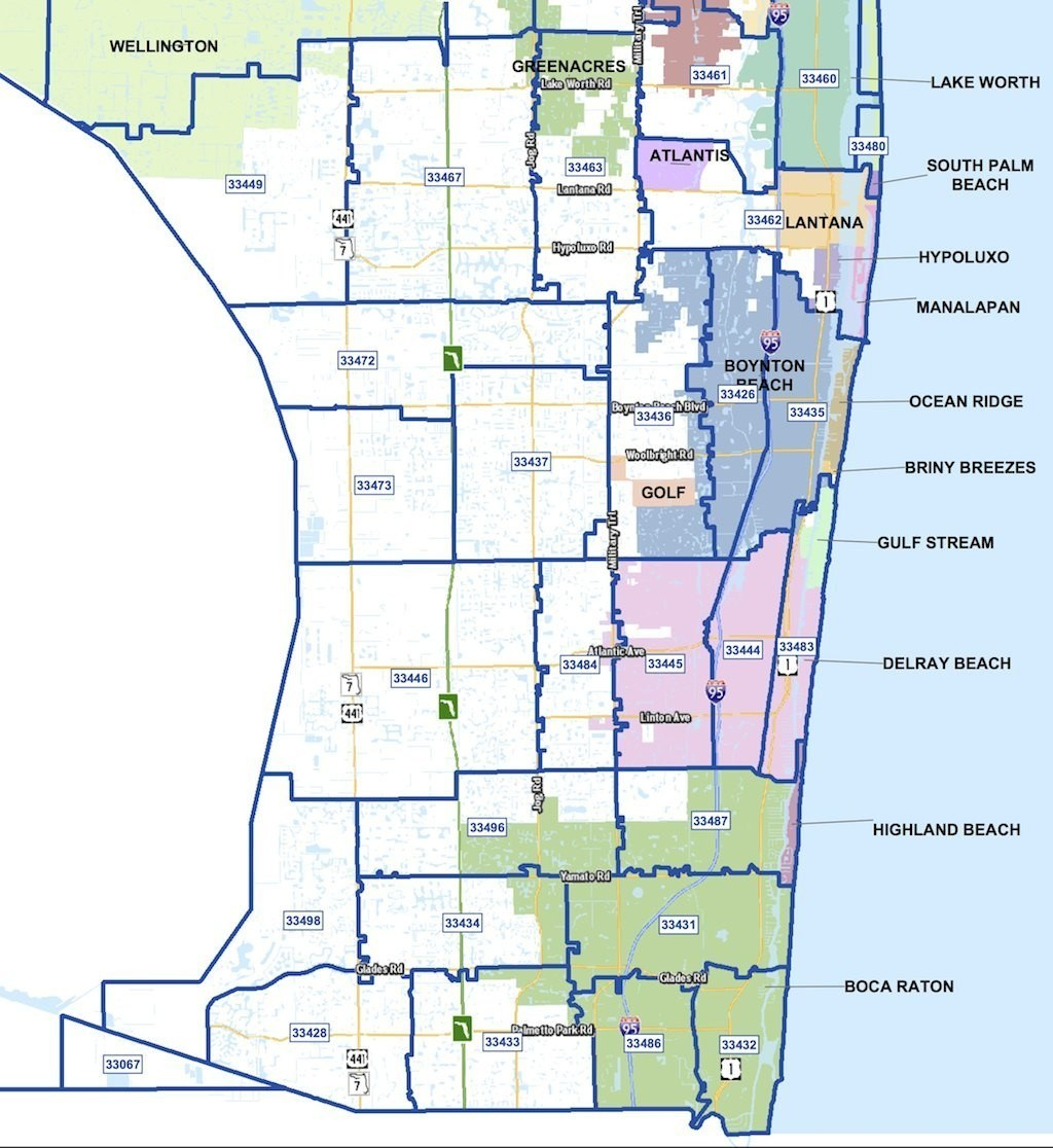 City Codes Palm Florida Beach County Map And Zip - Zip Code Map Of Palm Beach County Florida