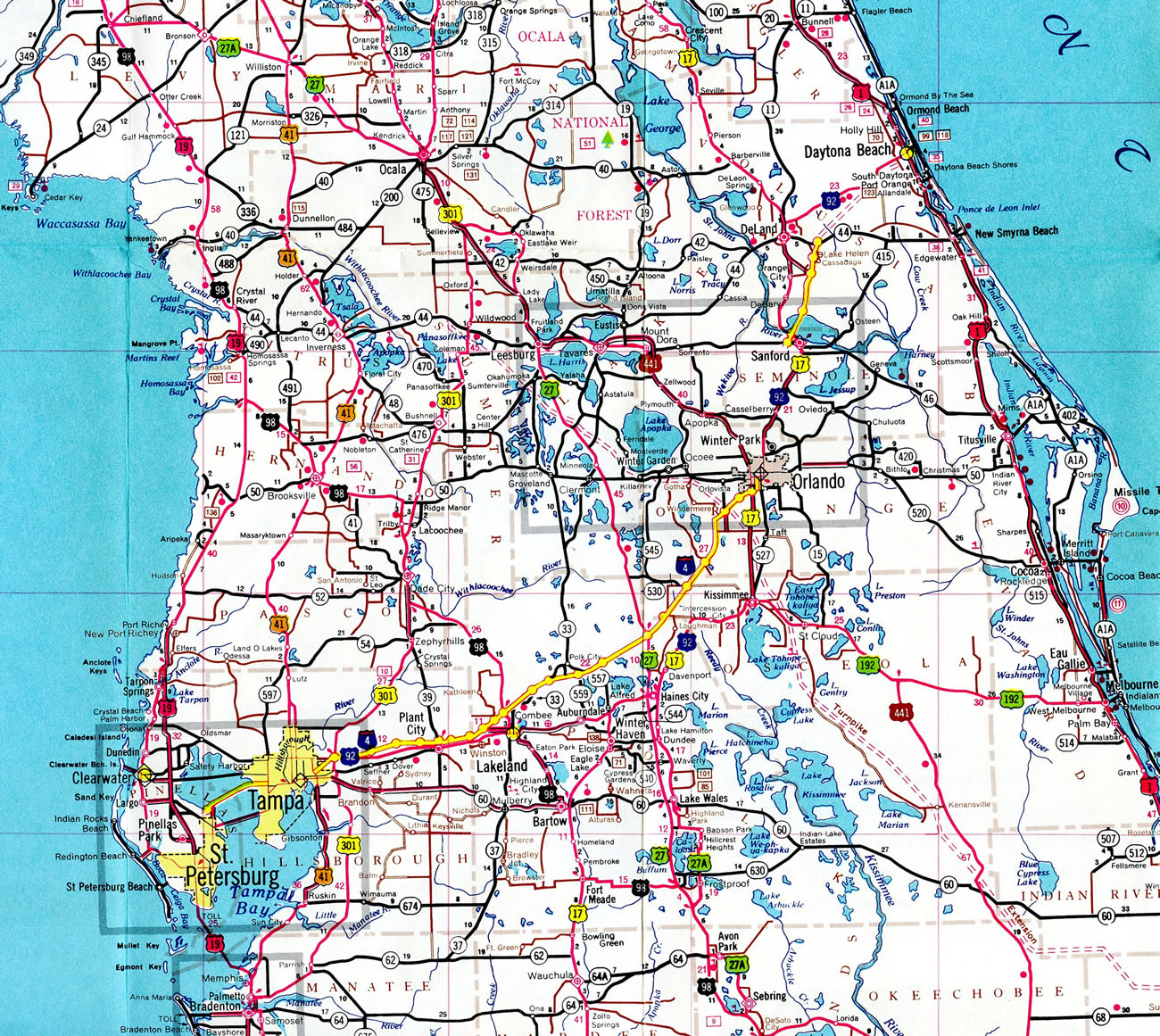 City Map Of Central Florida - Link-Italia - Road Map Of Central Florida
