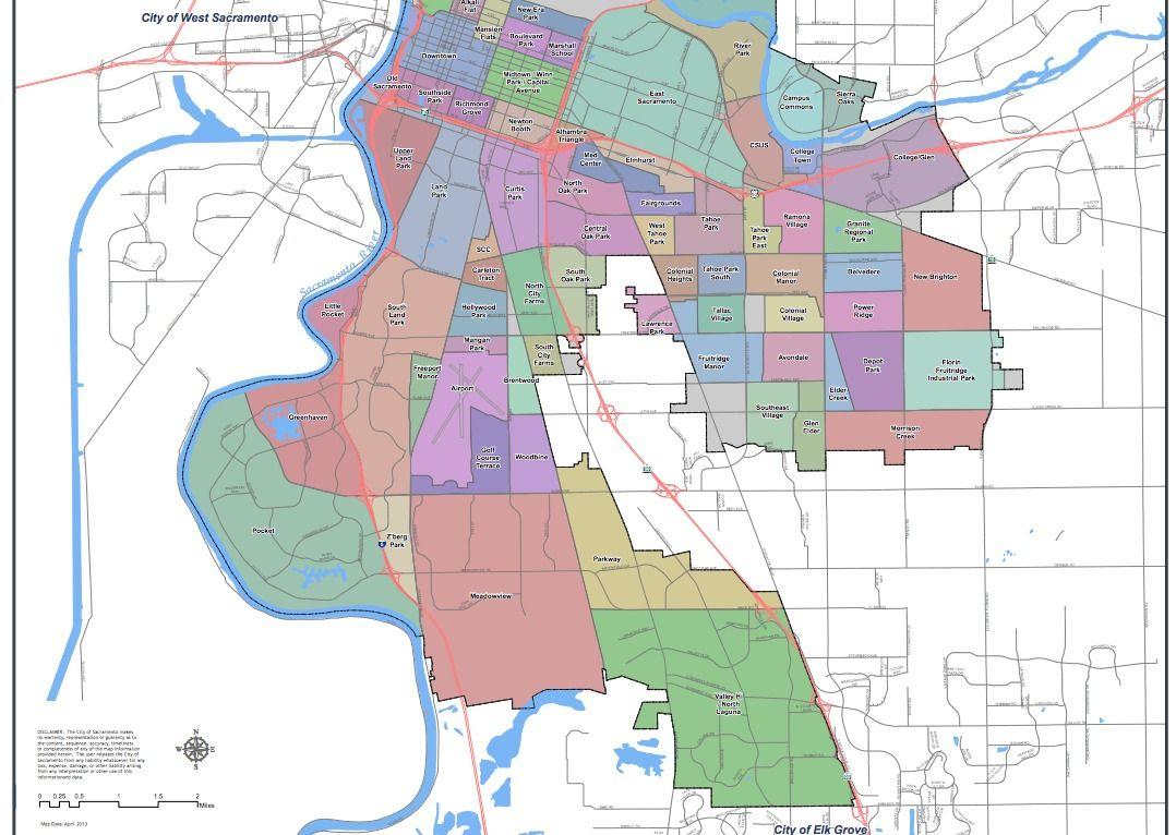 City Of Sacramento Ca Neighborhood Map Part 2 | Sacramento - Map To Sacramento California