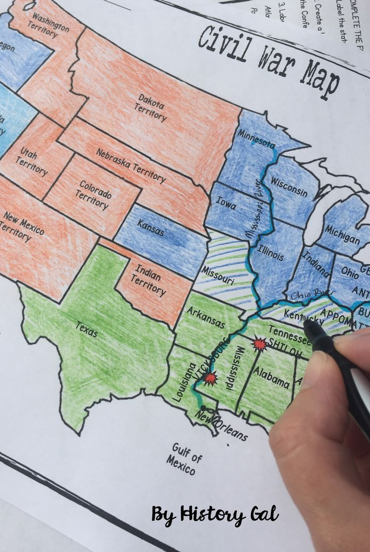 Civil War Map Activity | U.s. History Ideas | History Classroom, Map - Printable Civil War Map