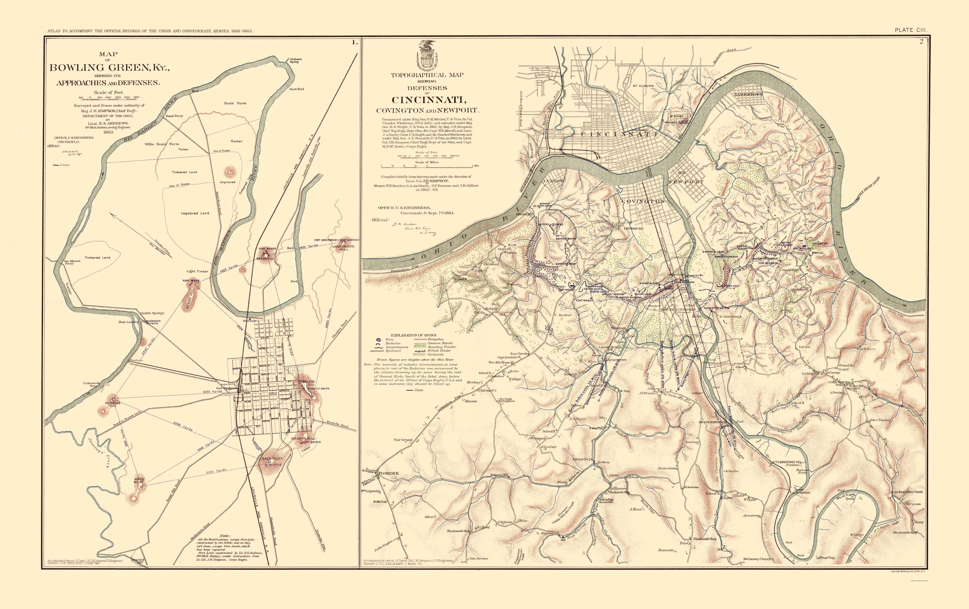 Civil War Map - Bowling Green Defenses & Approaches 1895 - Printable Map Of Bowling Green Ky
