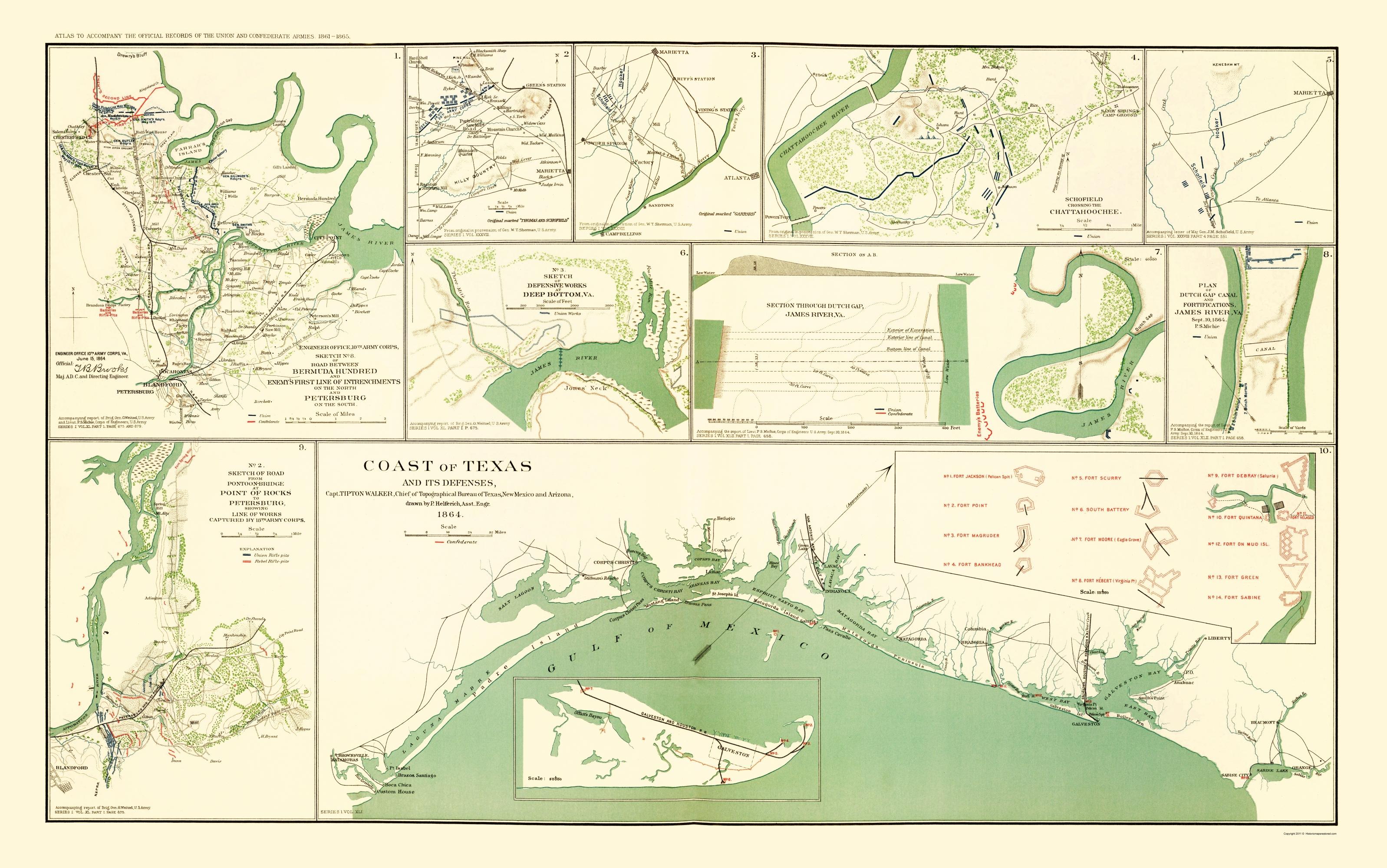 Civil War Map - Texas Coast & Defenses 1864 - Texas Civil War Map