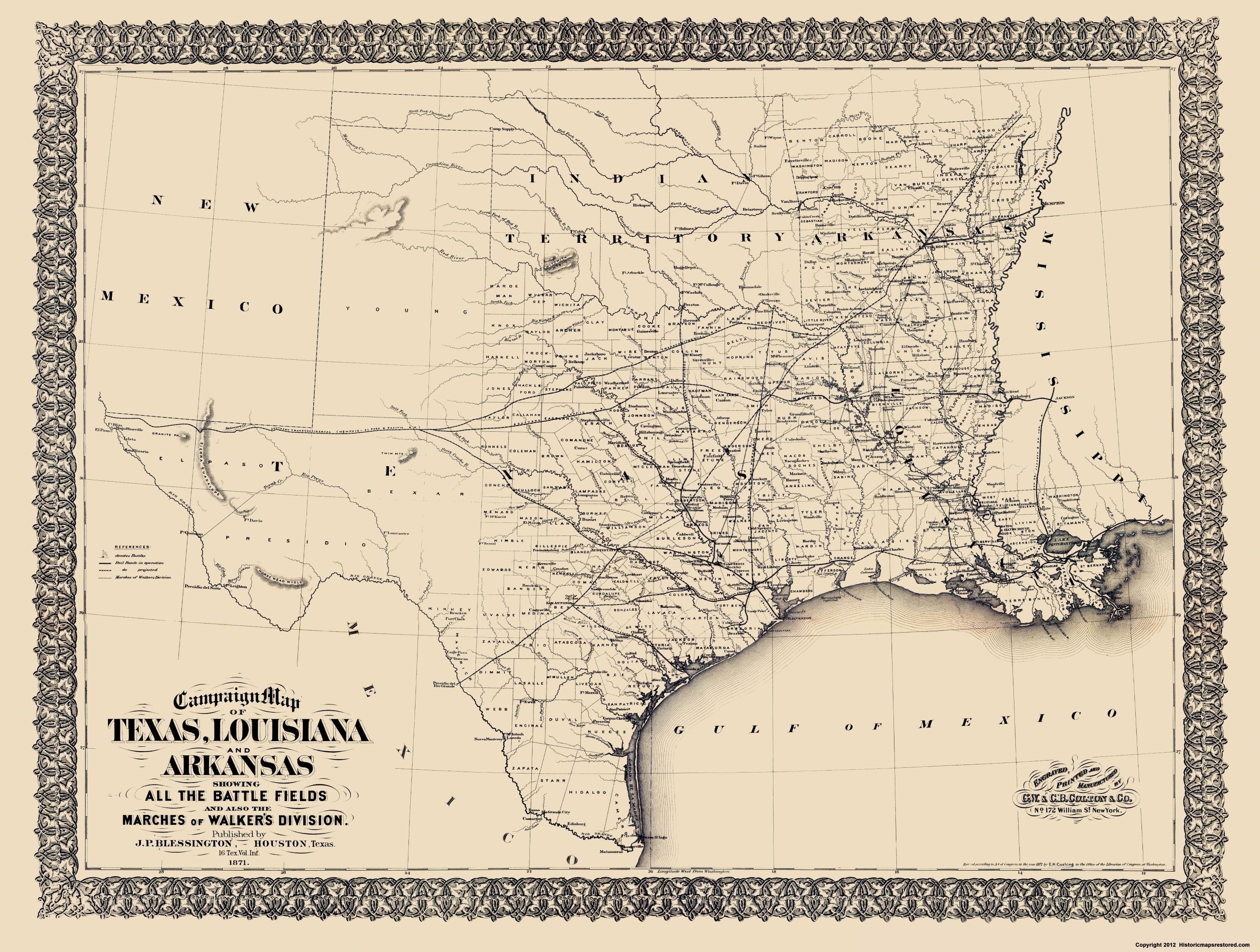 Civil War Map - Texas, Louisiana, & Arkansas 1871 - Texas Arkansas Map