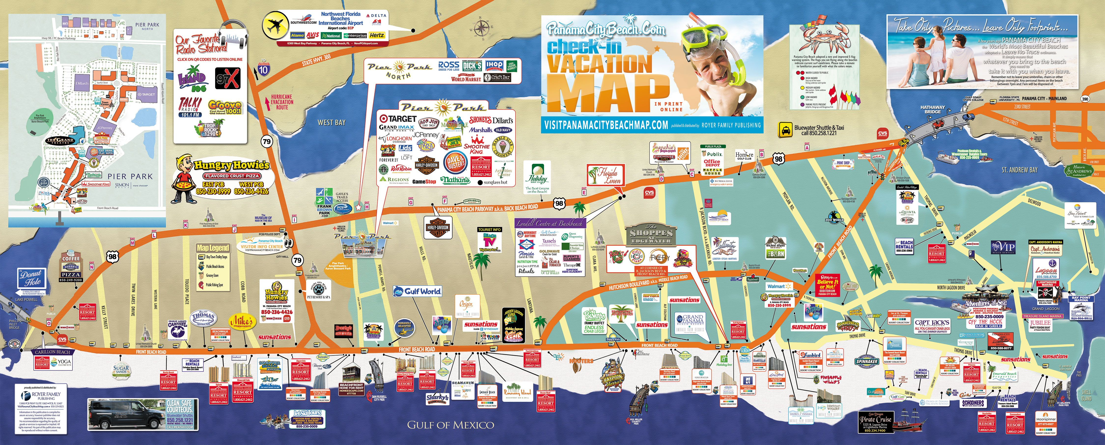 Click On The Map To See It Enlarged                 Beach In - Map Of Panama City Beach Florida