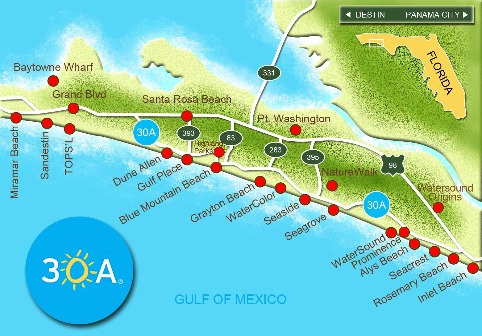 Click On The Red Dots Above To Learn More About Each Of 30A's - Where Is Fort Walton Beach Florida On The Map
