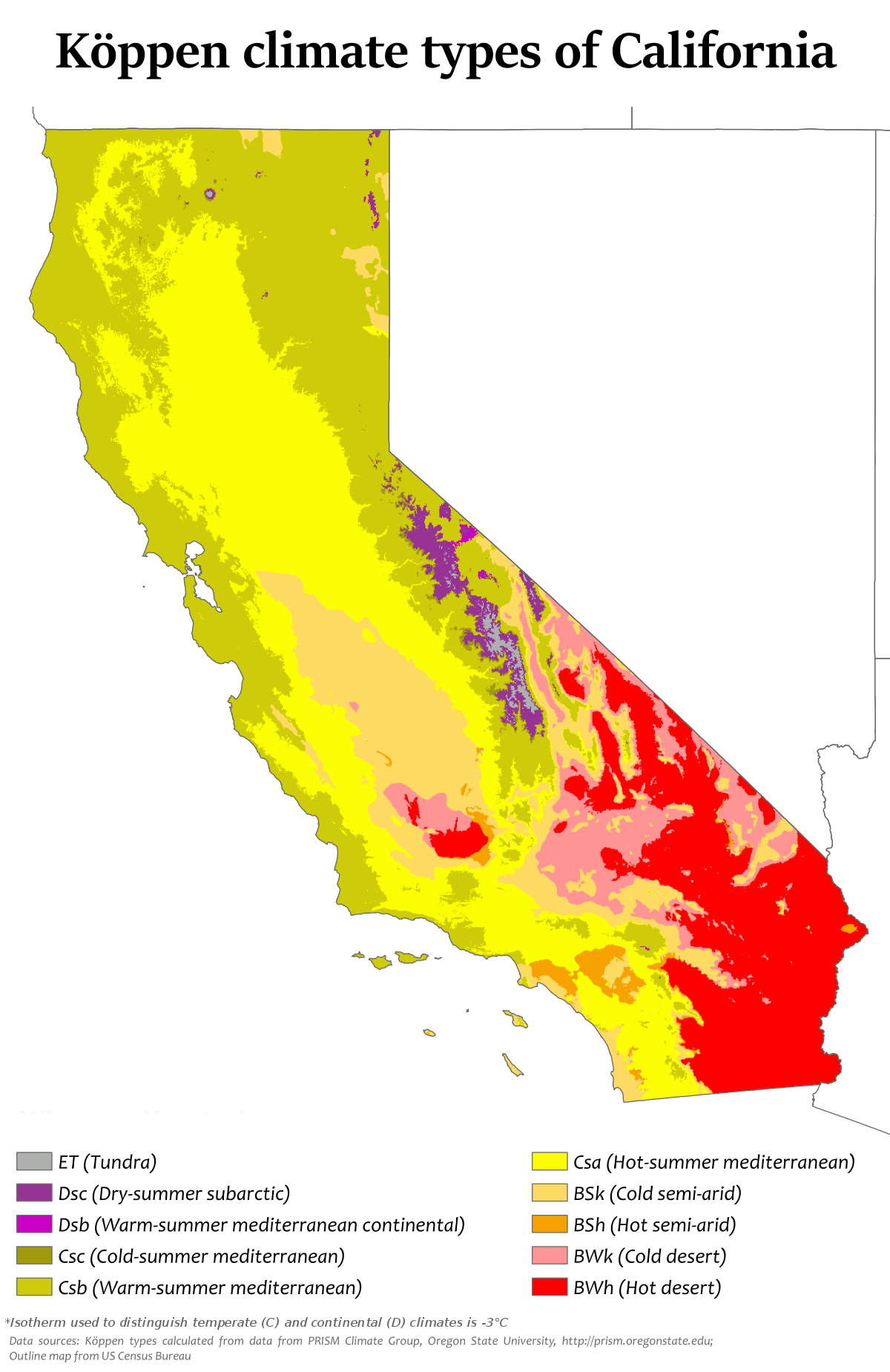 Climate Of California - Wikipedia - California Temperature Map Today