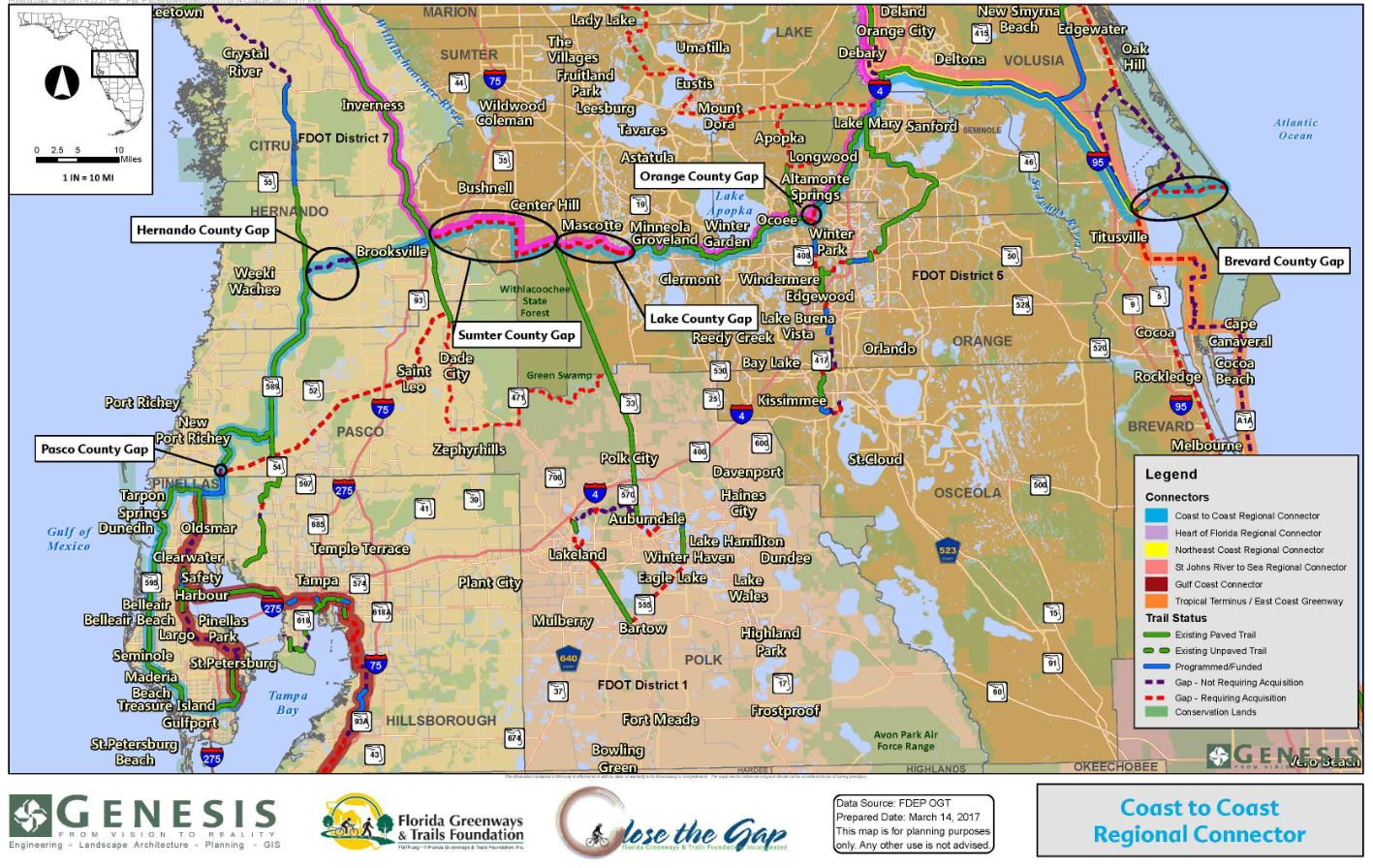 Close The Gaps | Genesis - Florida Greenways And Trails Map