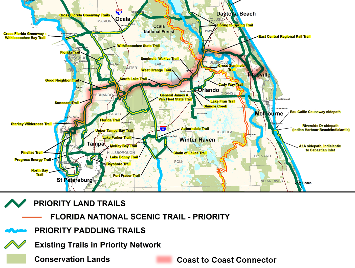 Coast To Coast Connector | | Commute Orlando - Florida Bicycle Trails Map
