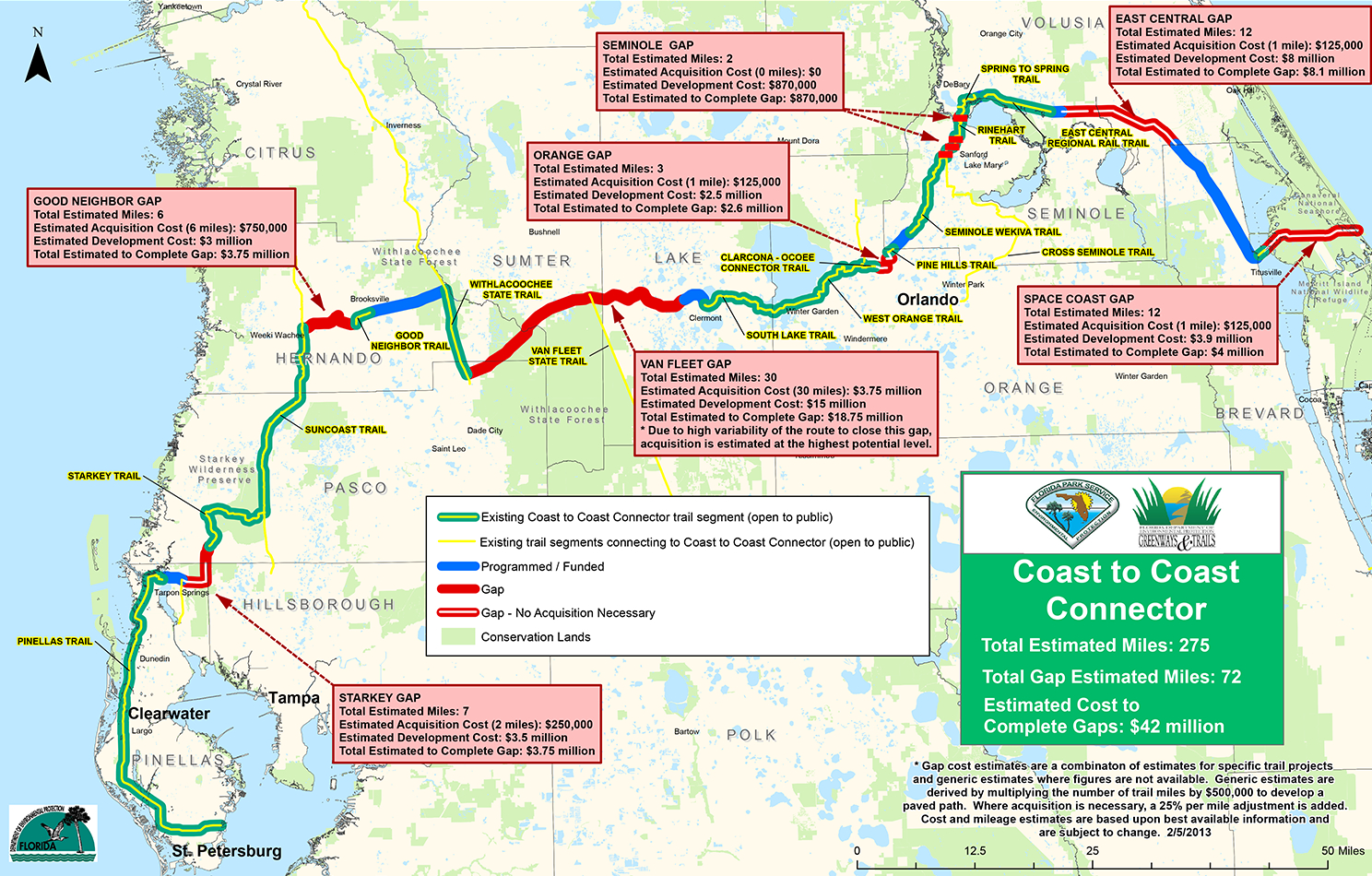 Coast To Coast Connector | | Commute Orlando - Rails To Trails Florida Map