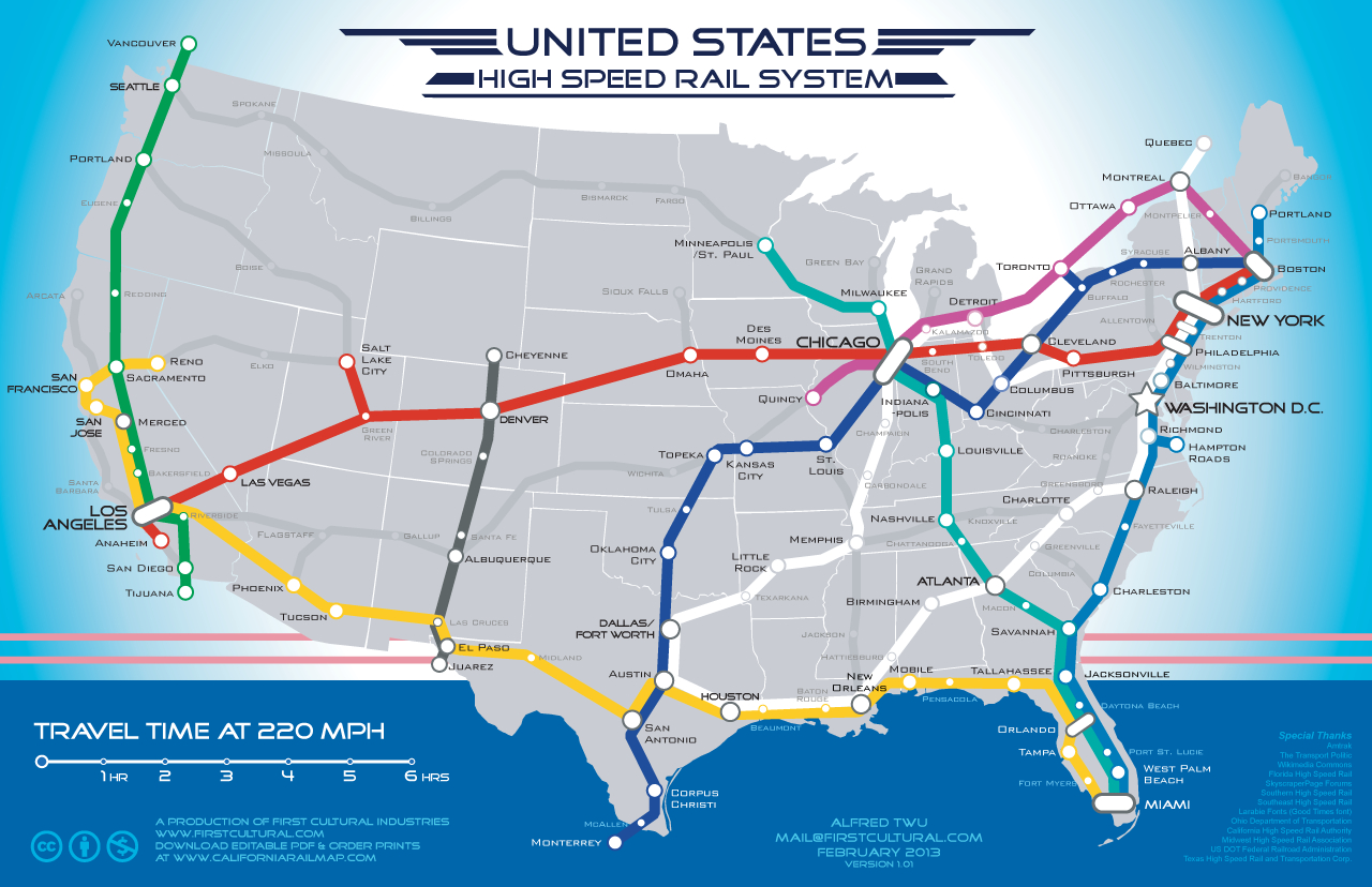 Coast-To-Coast High Speed Rail Map: Fantasy To Reality? | Michigan Radio - Amtrak California Coast Map