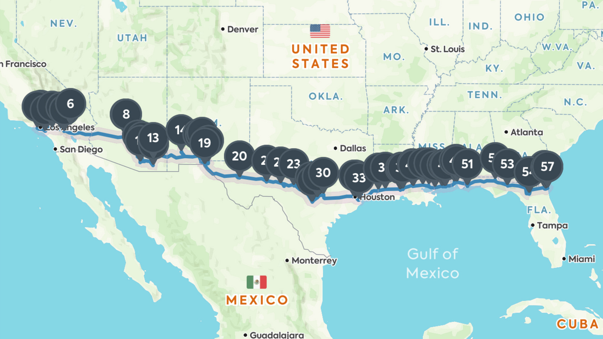 Coast To Coast Road Trip: The Best Of Everything Along I-10 - California Roadside Attractions Map
