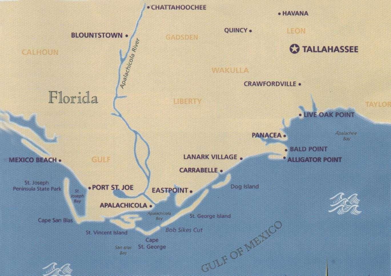 Coastal Gems Real Estate: Carrabelle, Fl- St. George Island, Fl - Carrabelle Florida Map