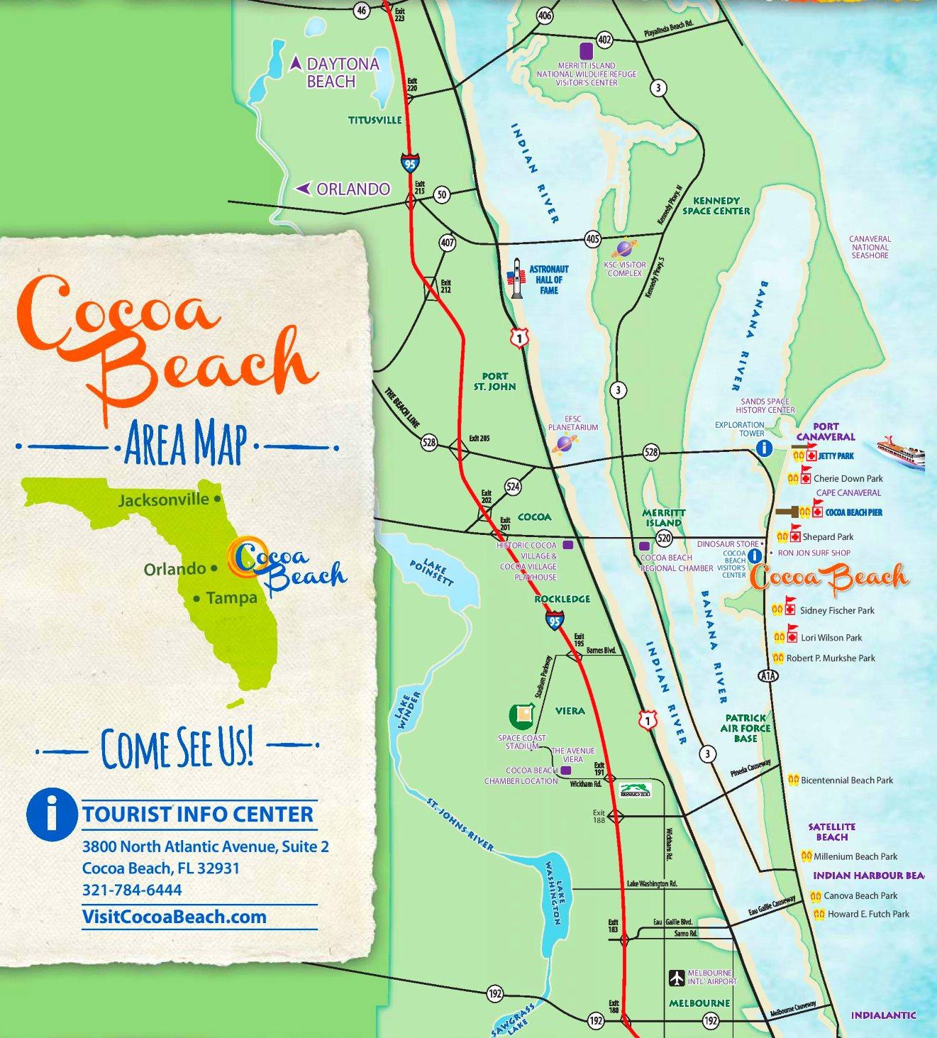 Cocoa Beach Tourist Map - Inlet Beach Florida Map