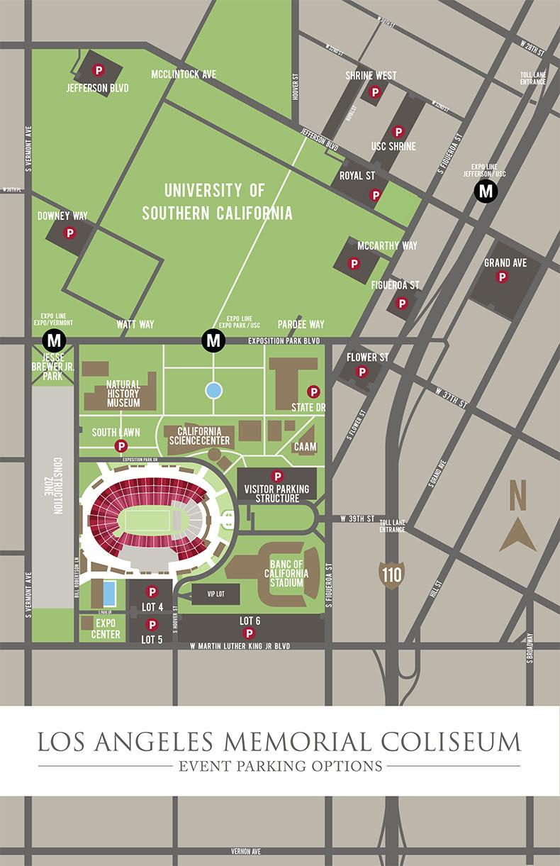 Coliseum Maps – Los Angeles Coliseum - Southern California Road Map Pdf