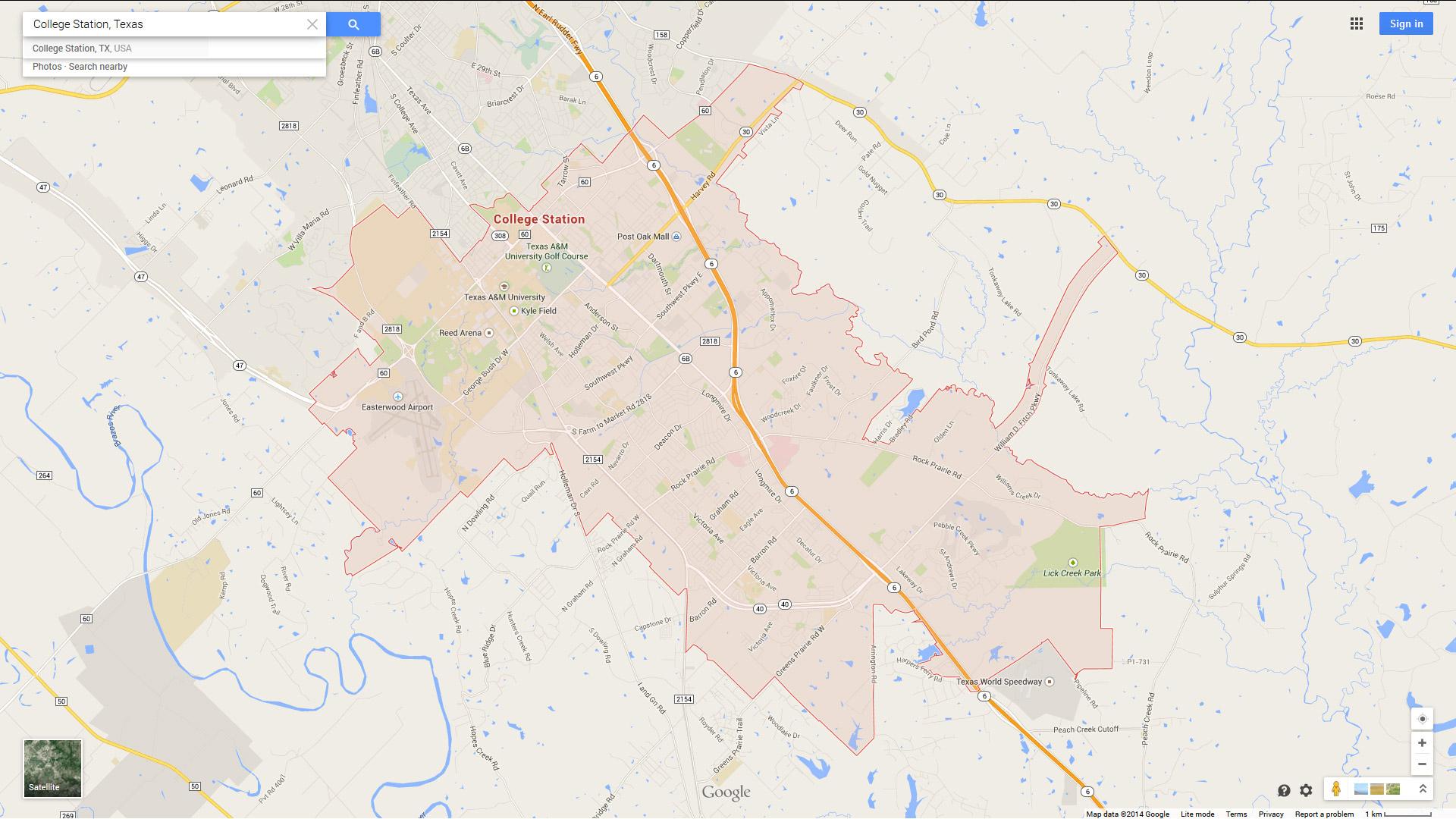 College Station, Texas Map - College Station Texas Map