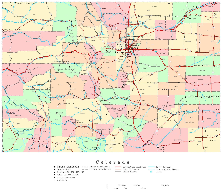 Colorado Printable Map - Printable Road Maps