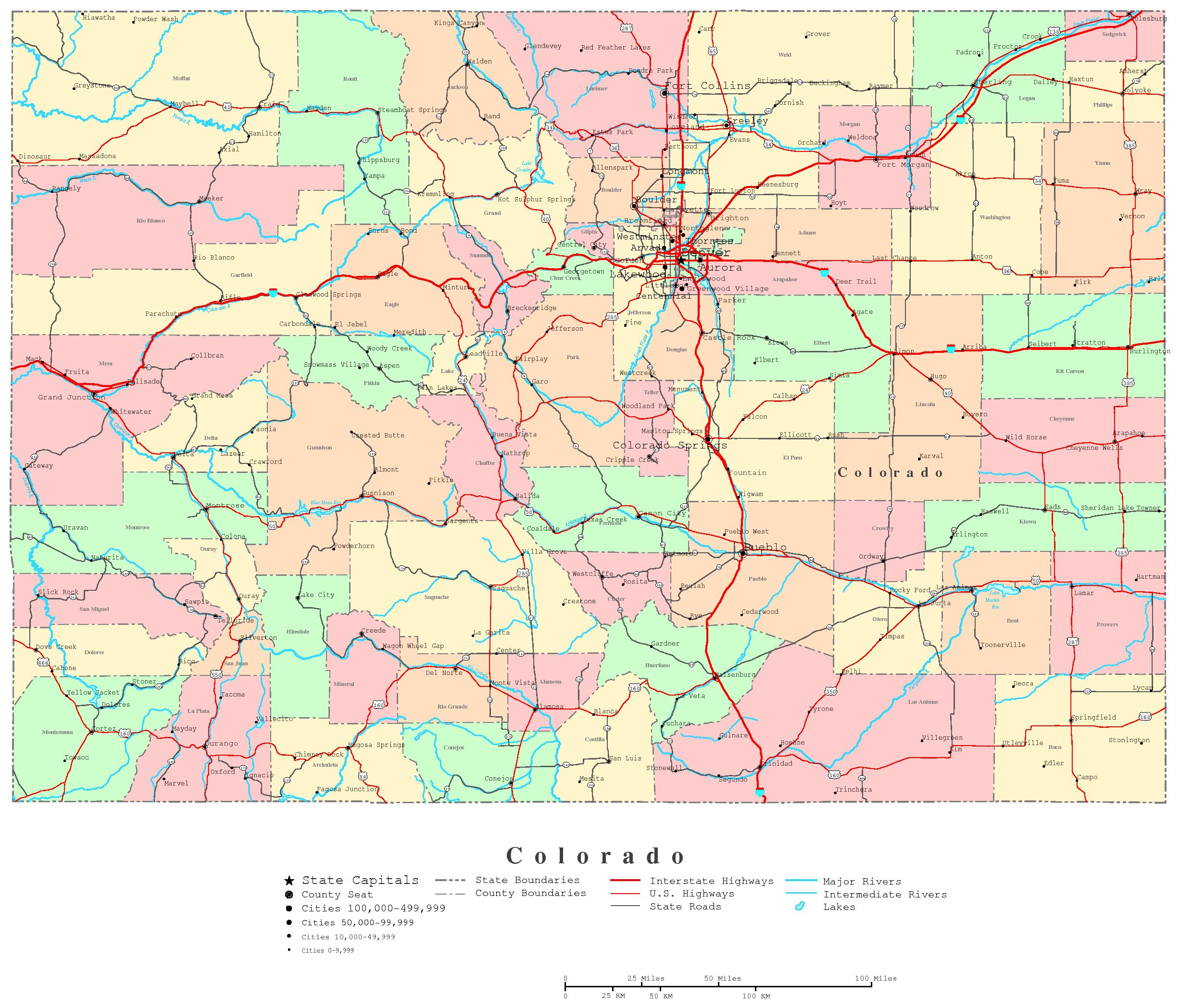Colorado Printable Map - Printable State Road Maps