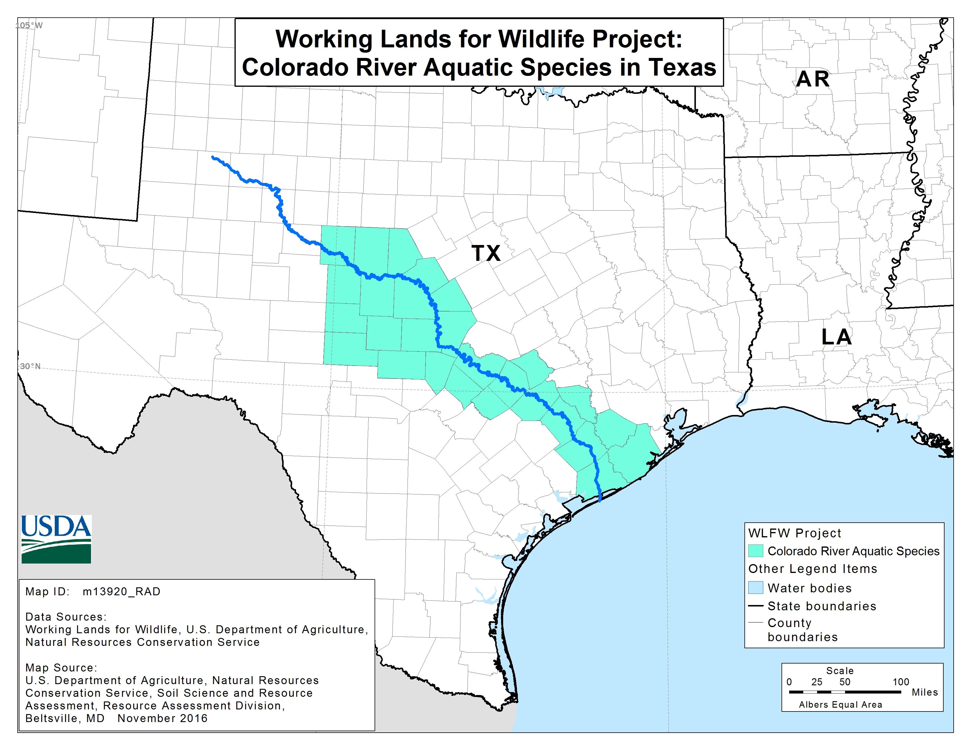 Colorado River Mussels Project   Nrcs - Colorado River Map Texas