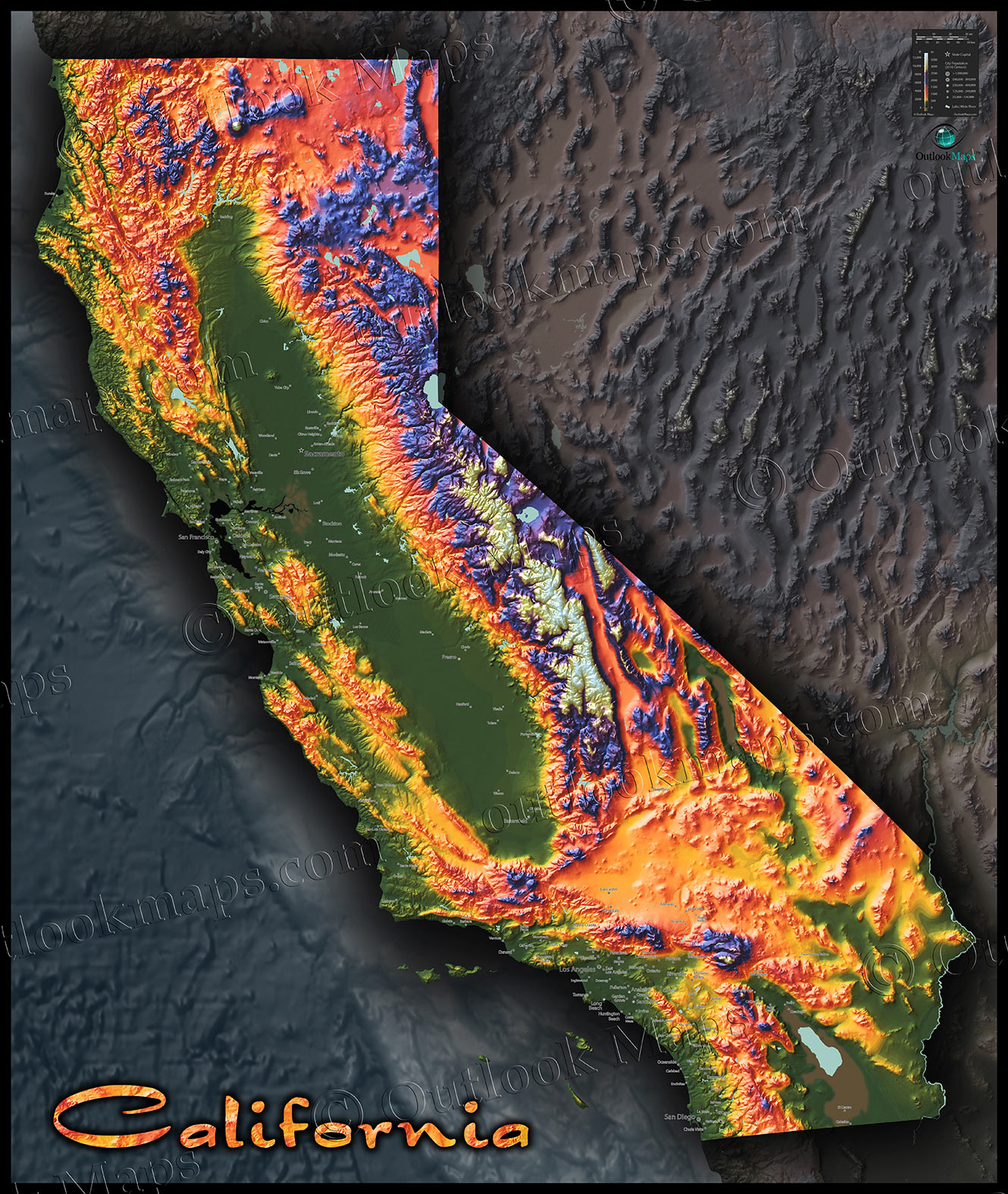 Colorful California Map | Topographical Physical Landscape - California Topographic Map Elevations