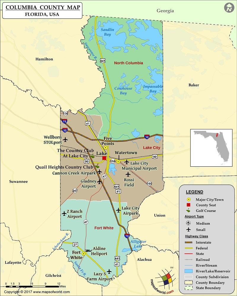 Columbia County Map, Florida - Florida Airparks Map