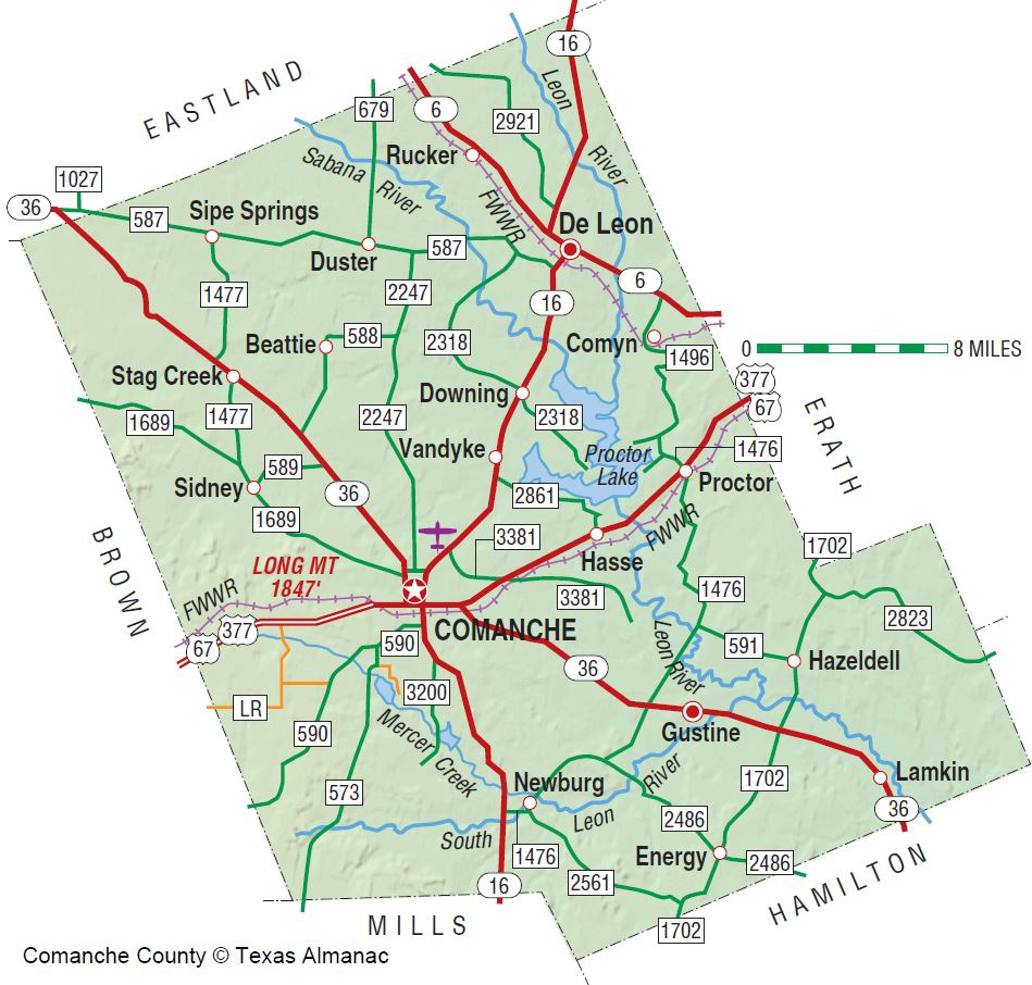 Comanche County | The Handbook Of Texas Online| Texas State - Erath County Texas Map