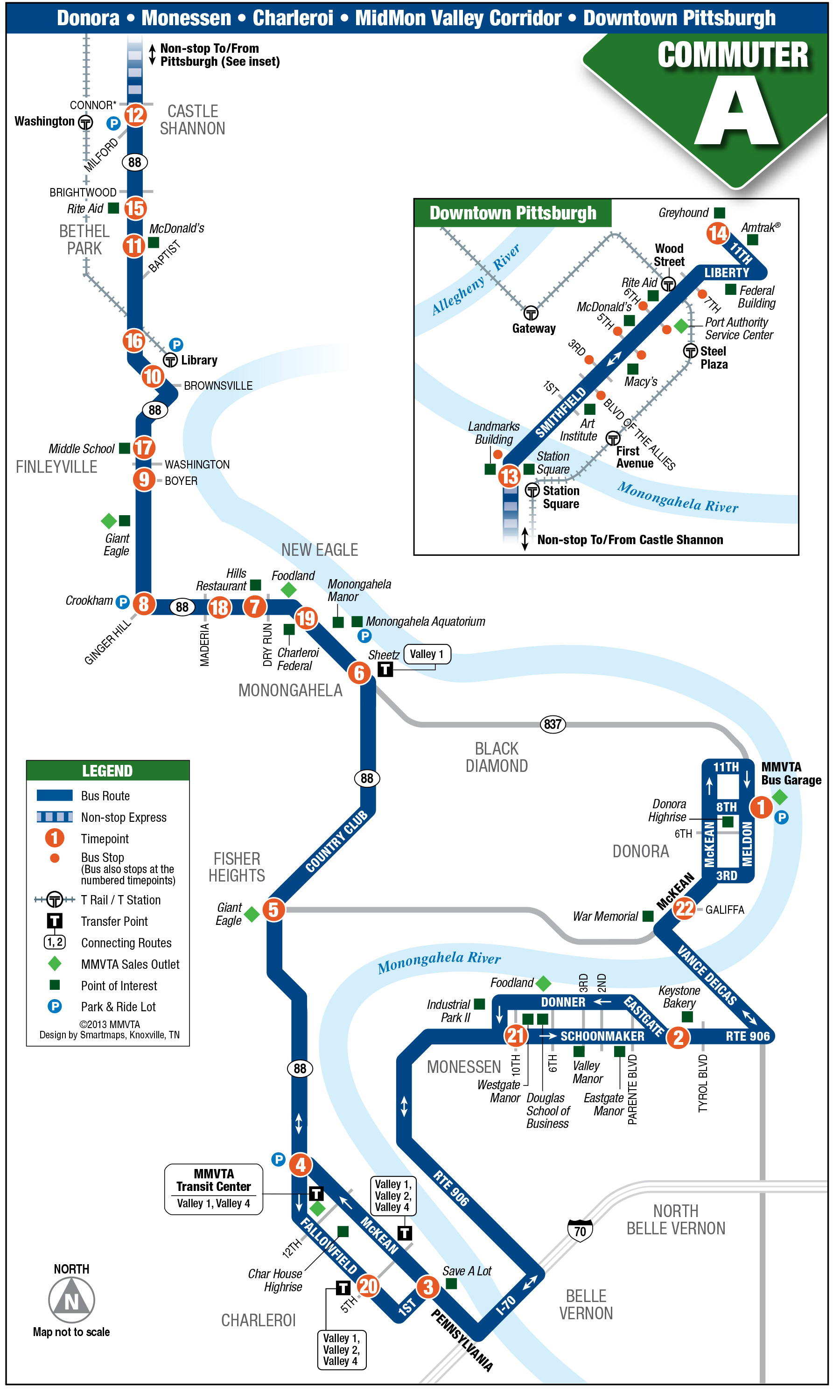 Commuter A - Mid Mon Valley Transit - Greyhound Map California