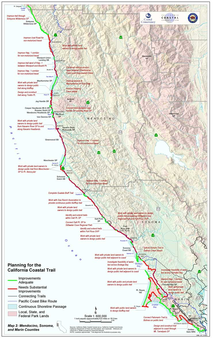 Completing The California Coastal Trail-Sb908 Report - California Trail Map