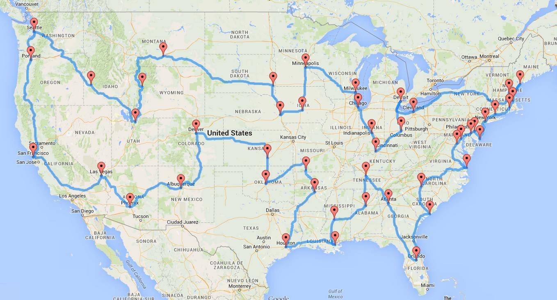 Computing The Optimal Road Trip Across The U.s. | Dr. Randal S. Olson - California To Florida Road Trip Map