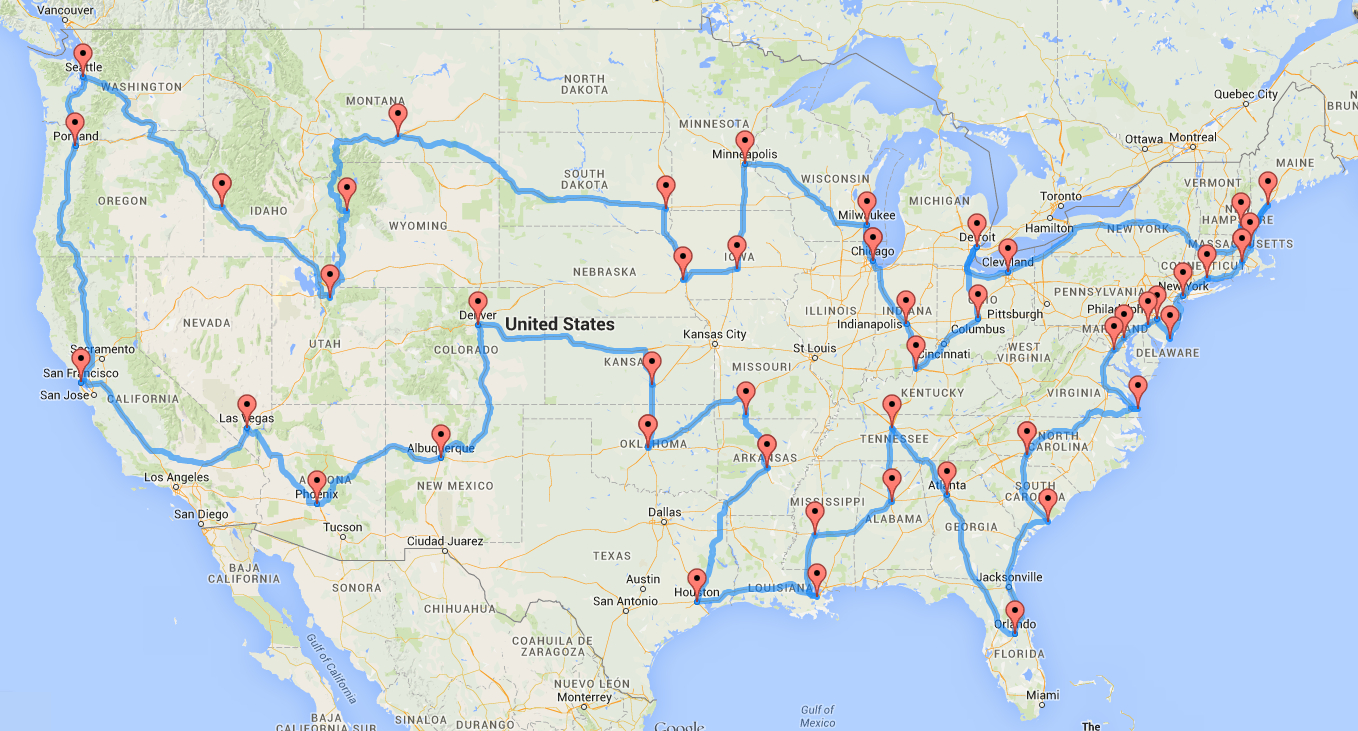 Computing The Optimal Road Trip Across The U.s. | Dr. Randal S. Olson - Printable Map Route Planner