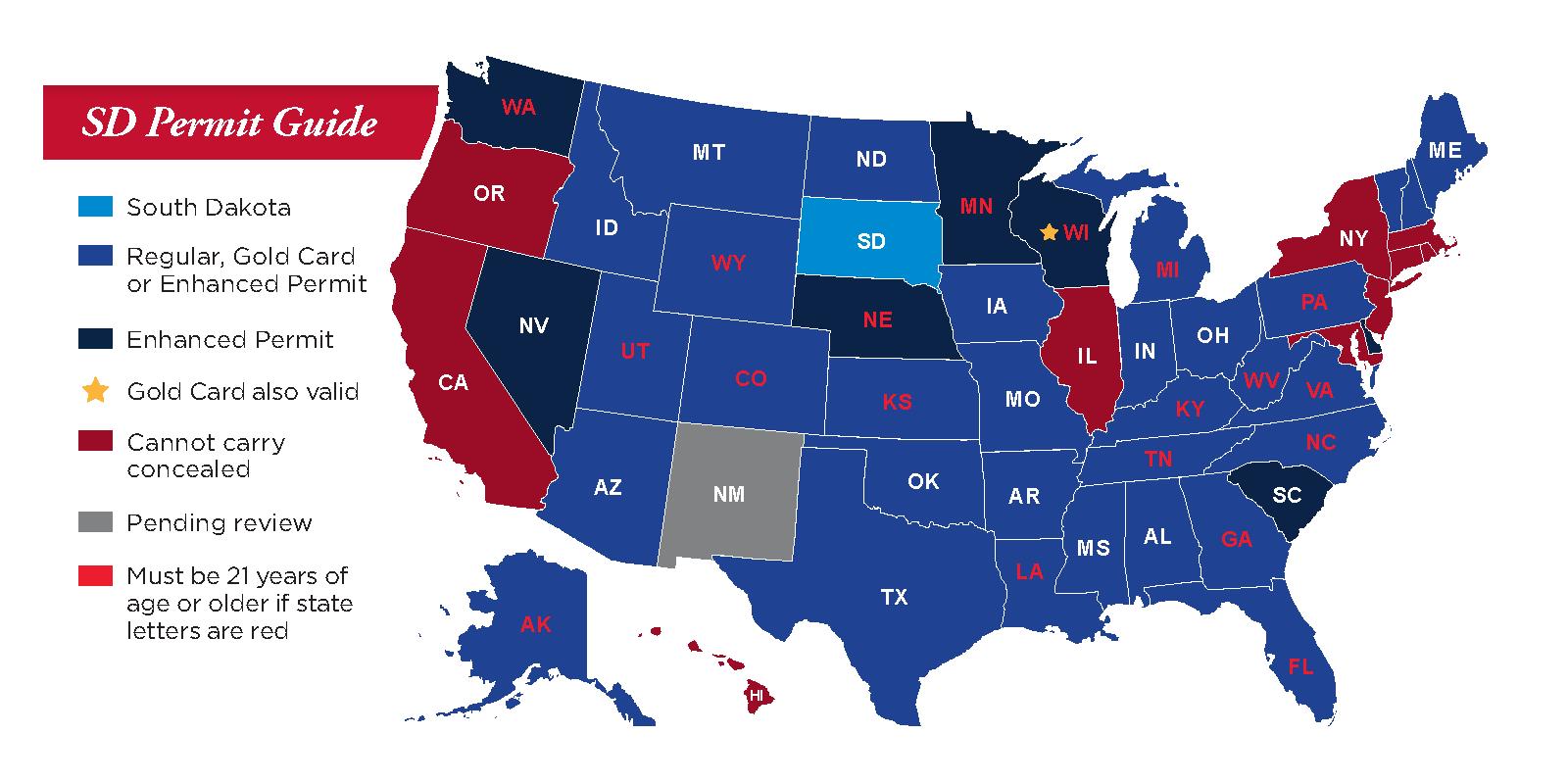 Concealed Pistol Permits: South Dakota Secretary Of State - Florida Ccw Reciprocity Map 2017