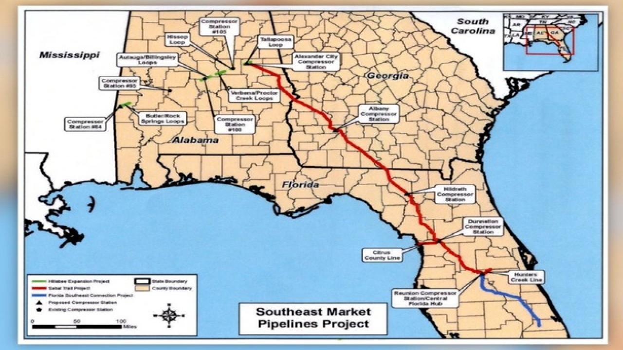 Controversial $3.2 Billion Sabal Trail Natural Gas Pipeline On - Florida Natural Gas Pipeline Map