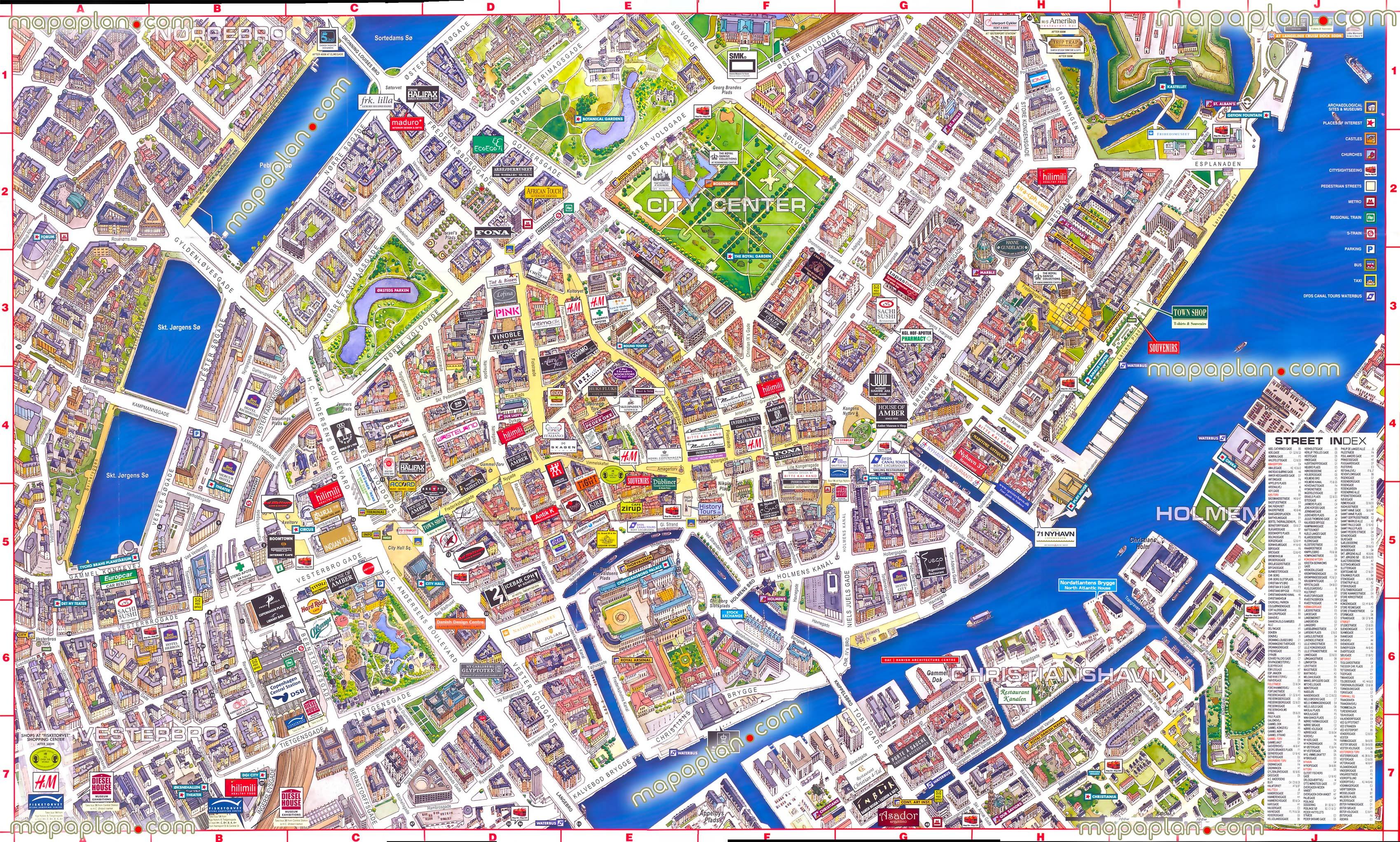 Copenhagen Map - Virtual Interactive 3D Map Of Copenhagen, Denmark - Printable Satellite Maps