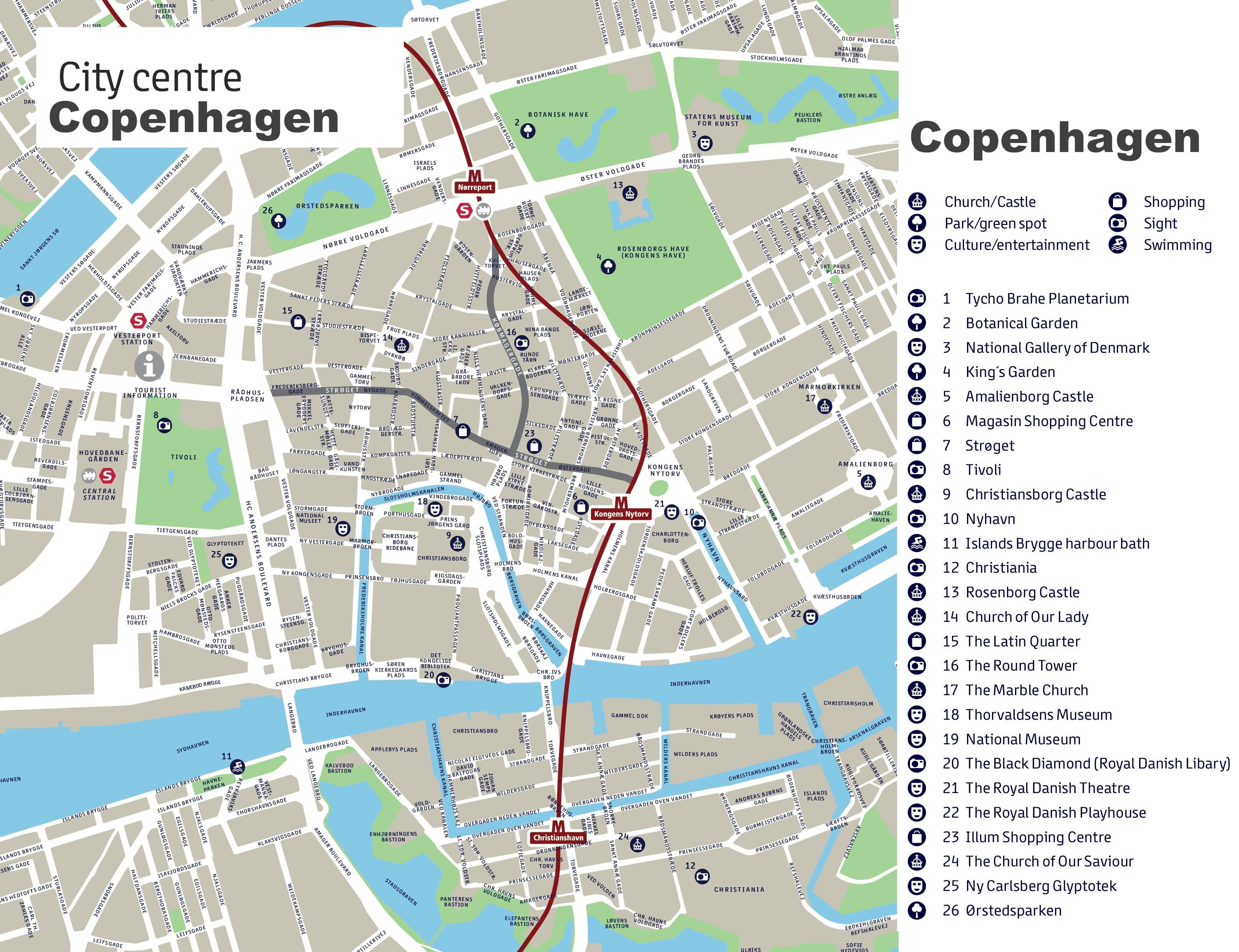 Copenhagen Maps | Denmark | Maps Of Copenhagen - Copenhagen Tourist Map Printable