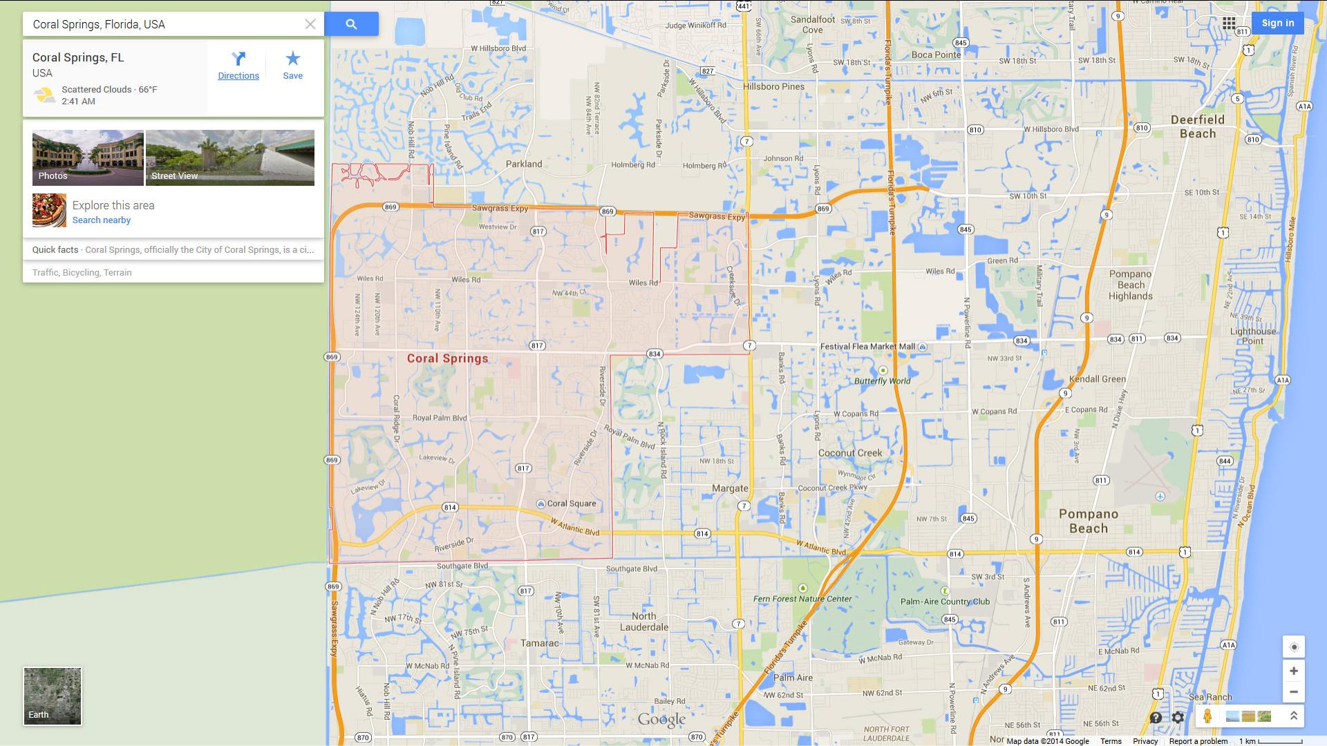 Coral Springs, Florida Map - Springs Map Florida
