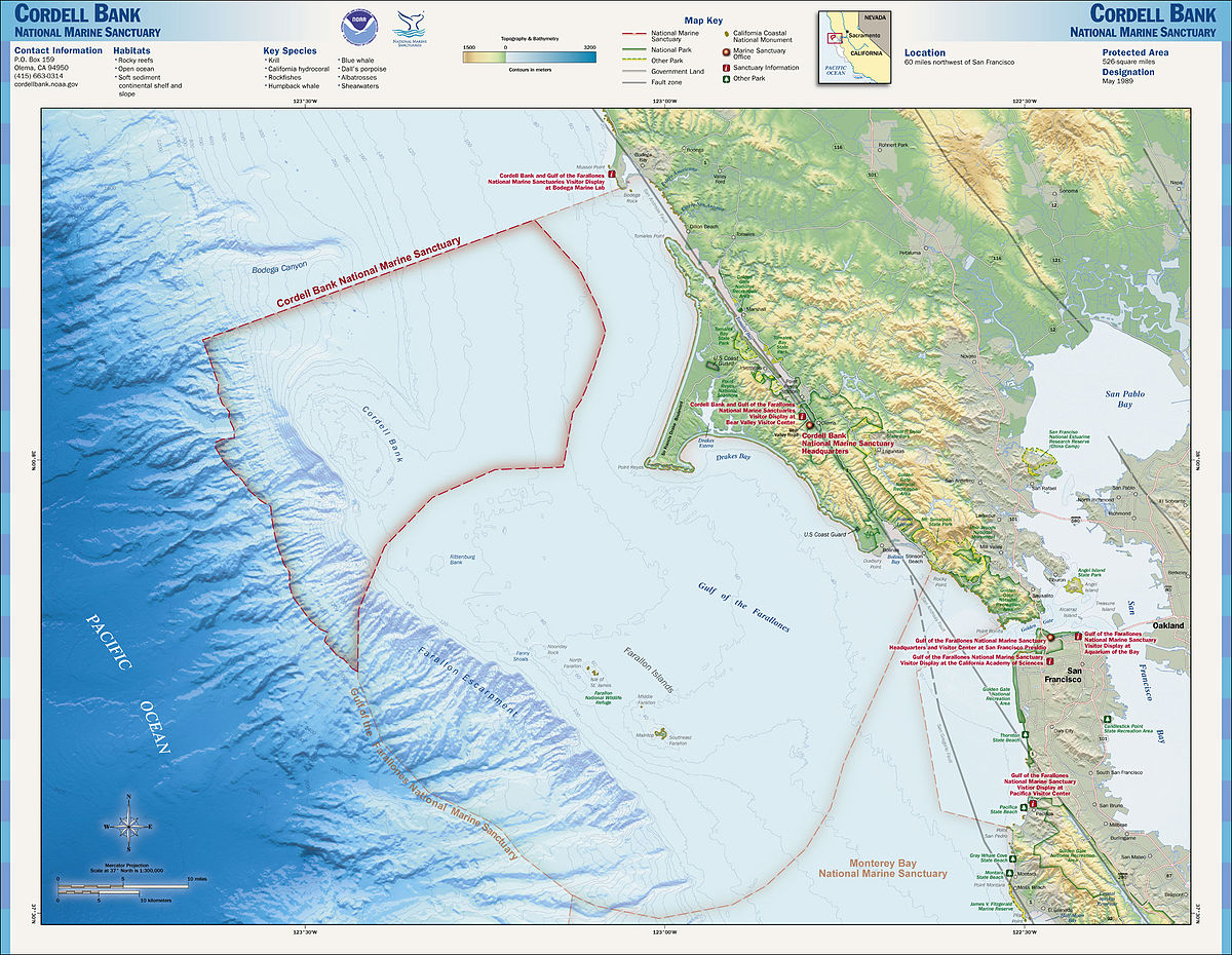 Cordell Bank National Marine Sanctuary - Wikipedia - California Ocean Fishing Map