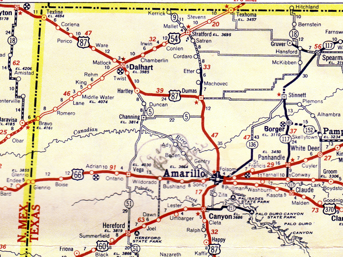 Corlena -- Gem Of The Texas Panhandle | Tennessee To Texas - Texas Panhandle Road Map