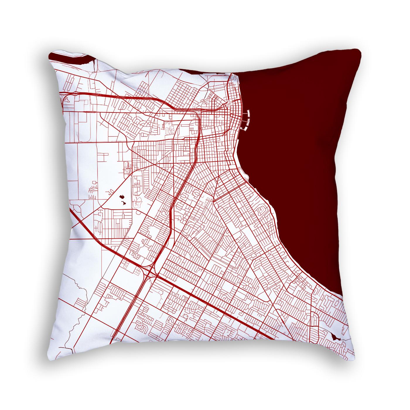 Corpus Christi Texas Throw Pillow – City Map Decor - Texas Map Pillow