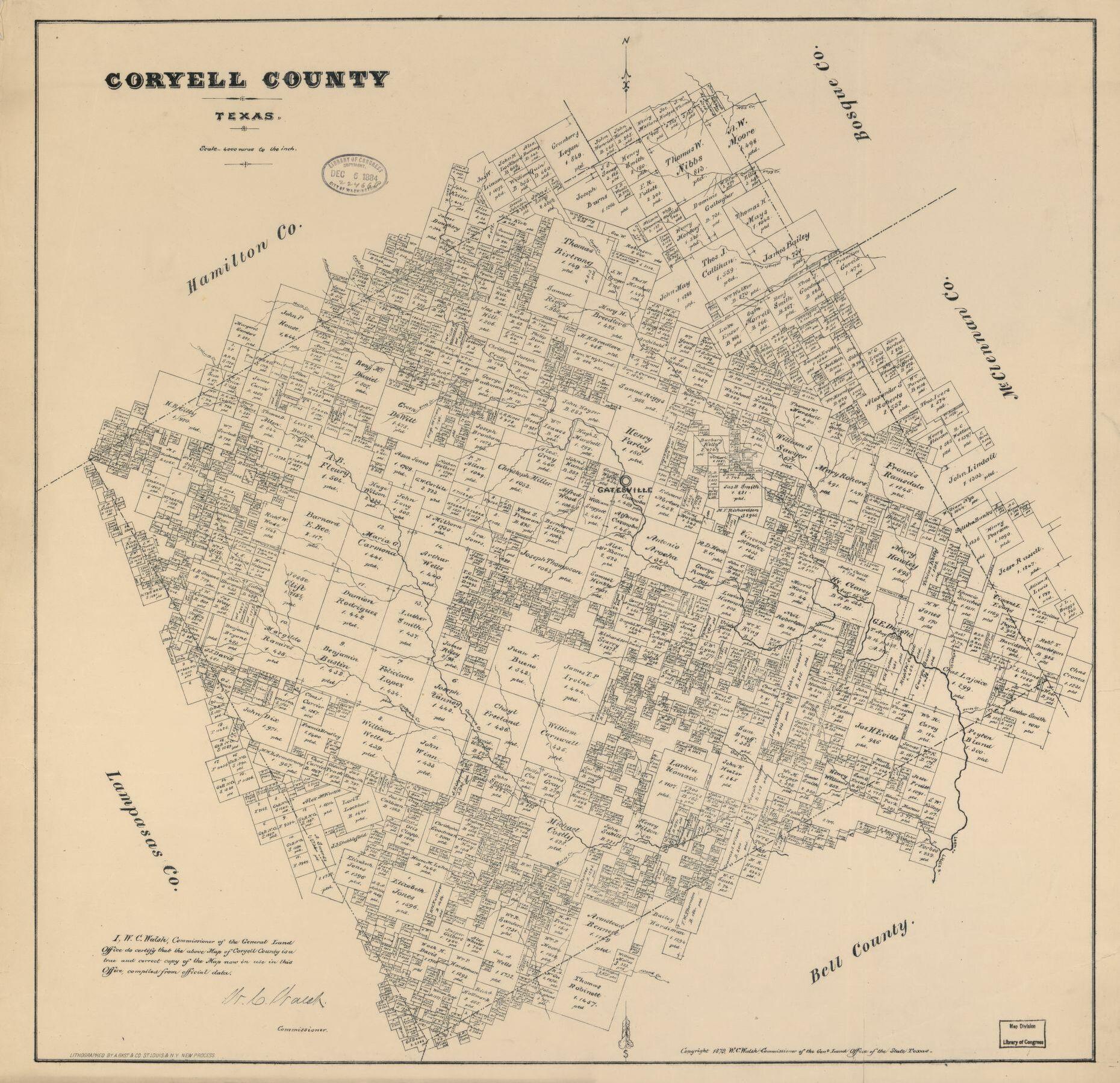 Coryell County, Texas. | Library Of Congress - Coryell County Texas Map