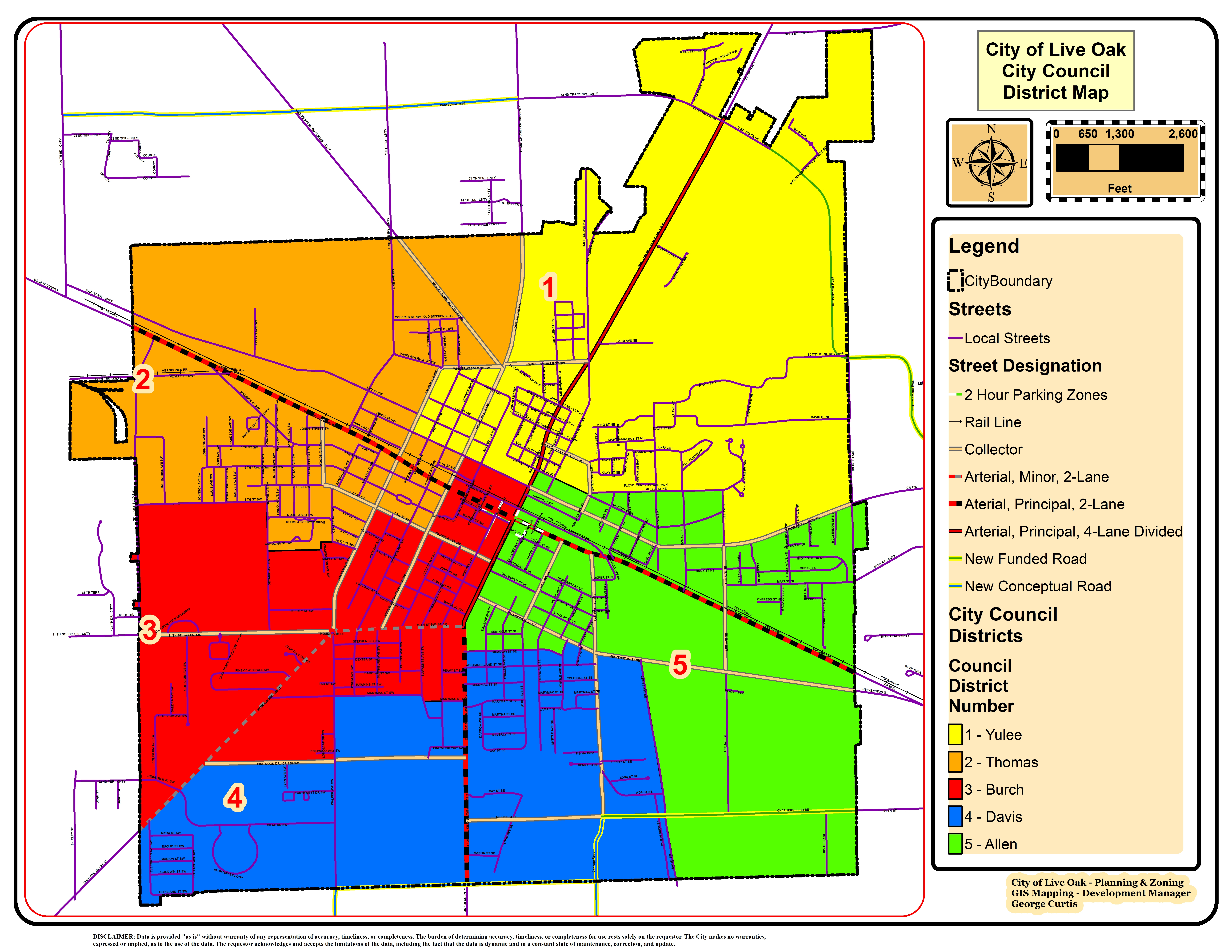 Council District Map - City Of Live Oak - Florida City Gas Service Area Map