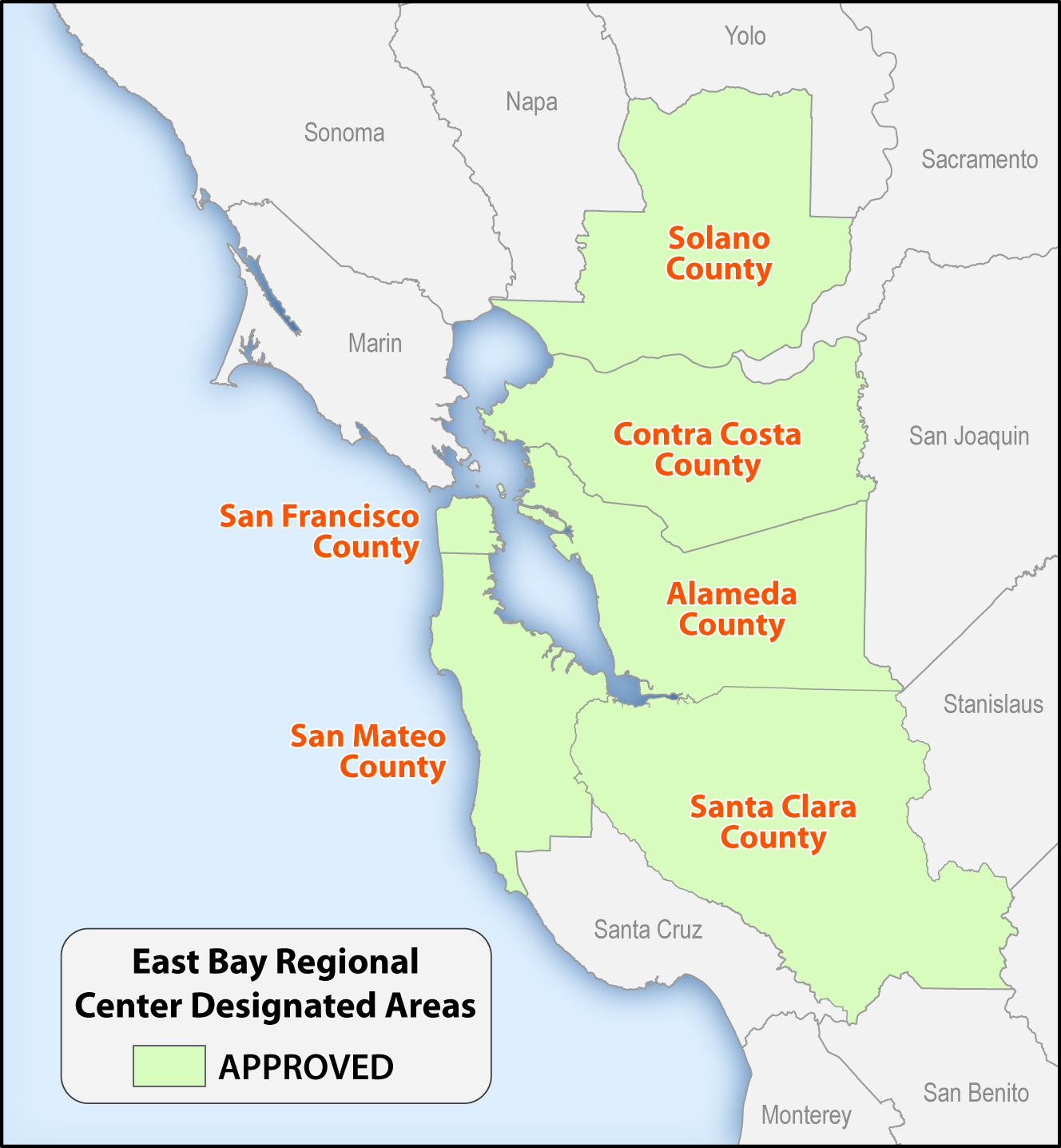 County Map Of San Francisco Bay Area And Travel Information - San Francisco Bay Area Map California