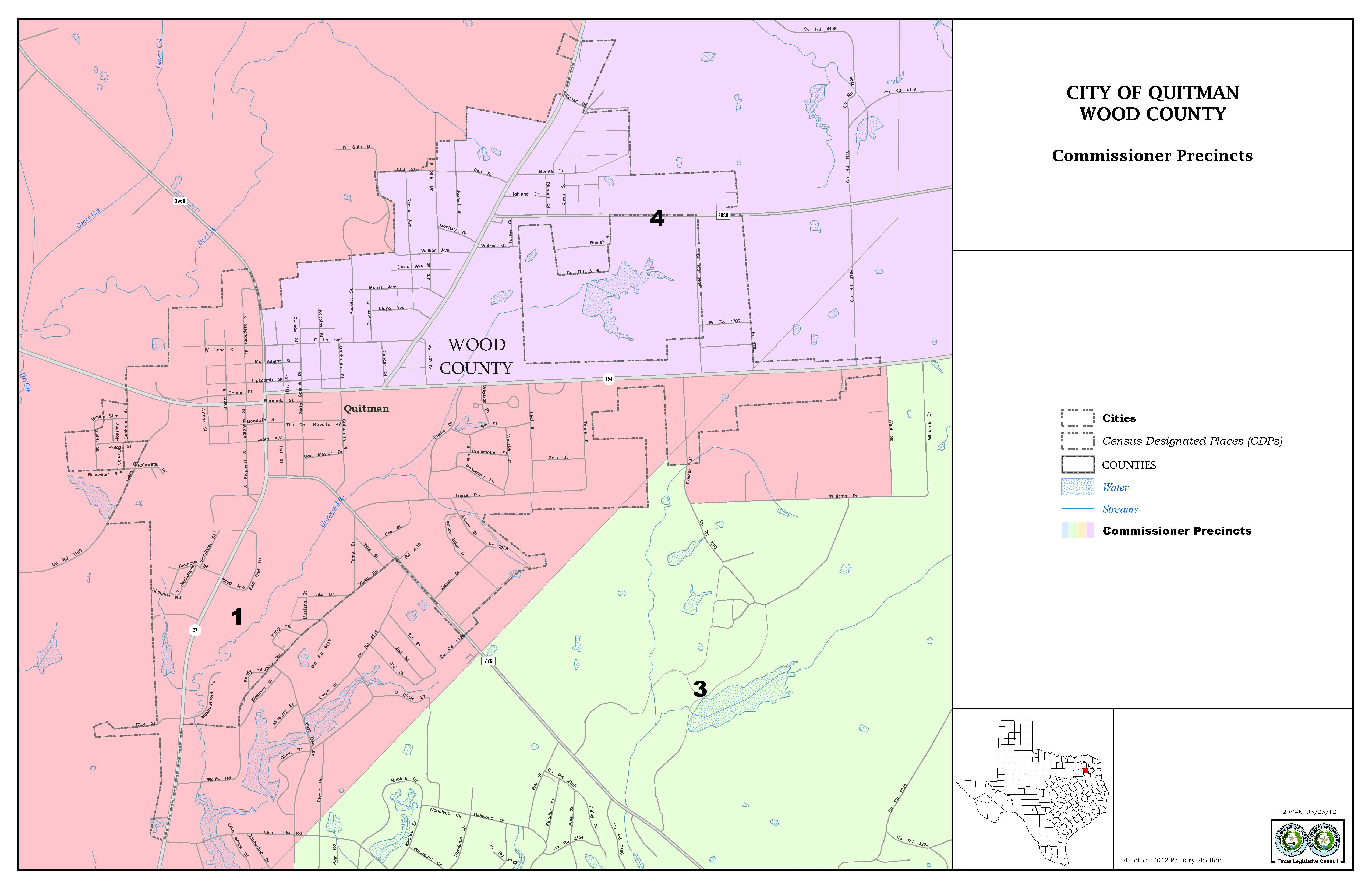 County Offices Commissioner's Court Constables Precinct # 1 Precinct - Quitman Texas Map